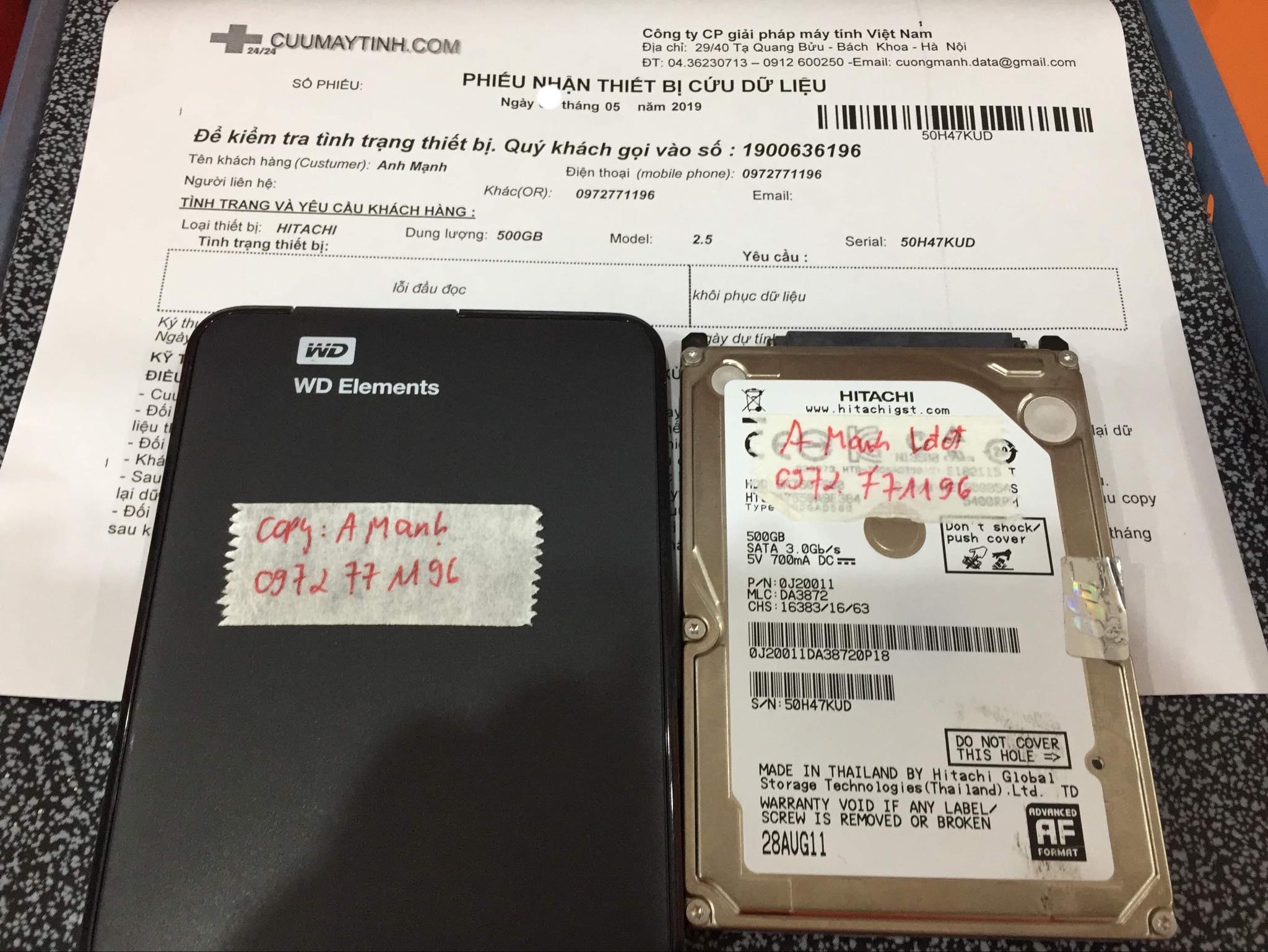 Lấy dữ liệu ổ cứng Hitachi 500GB lỗi đầu đọc 09/05/2019 - cuumaytinh