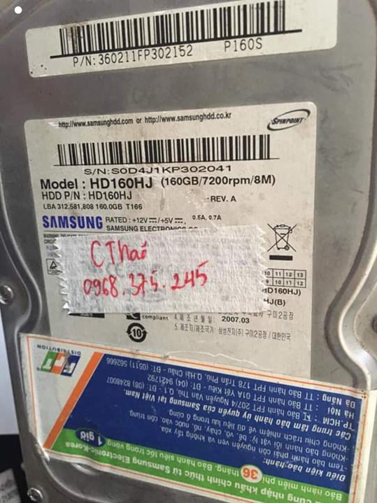 Lấy dữ liệu ổ cứng Samsung 160GB đầu đọc kém 21/05/2019 - cuumaytinh