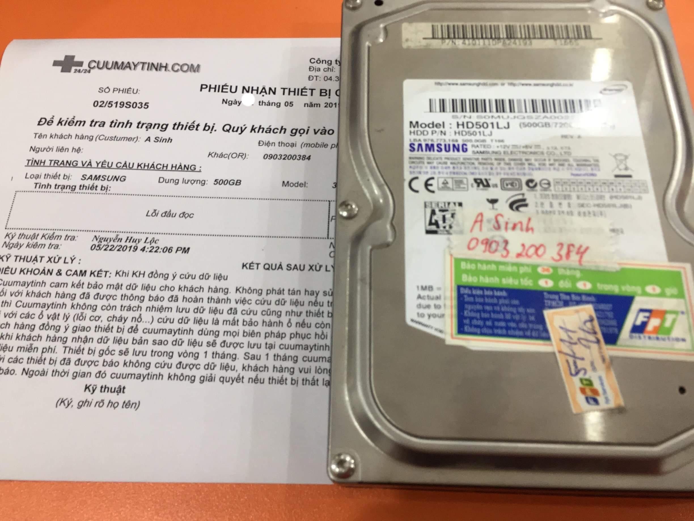 Lấy dữ liệu ổ cứng Samsung 500GB lỗi đầu đọc 25/05/2019 - cuumaytinh