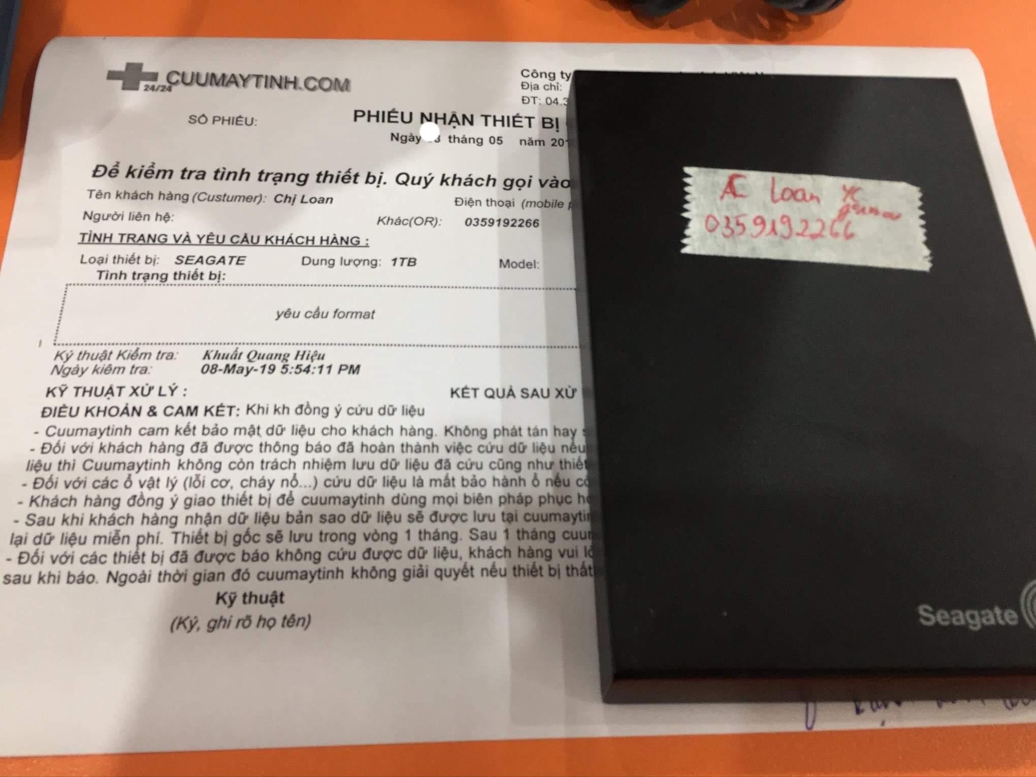 Lấy dữ liệu ổ cứng Seagate 1TB yêu cầu format 22/05/2019 - cuumaytinh