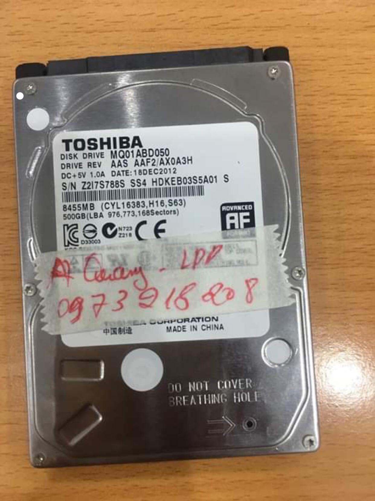 Lấy dữ liệu ổ cứng Toshiba 500GB không nhận 13/05/2019 - cuumaytinh