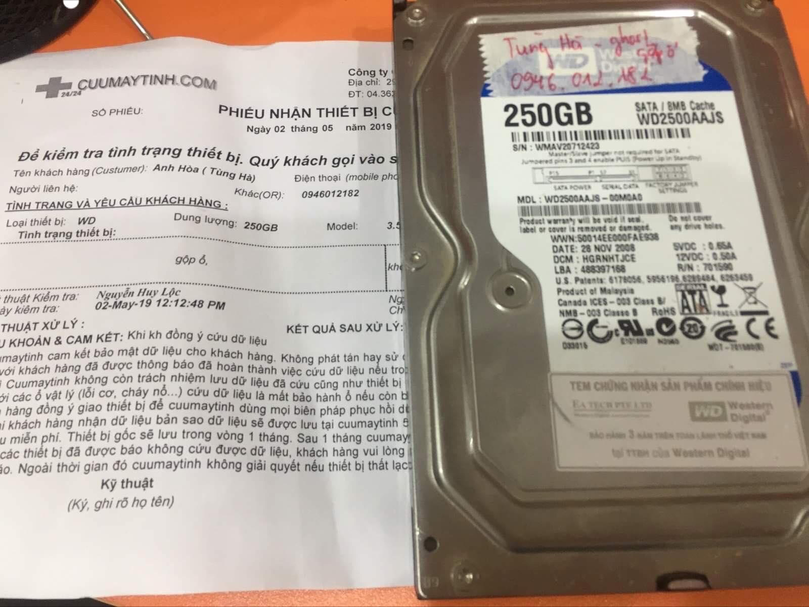 Lấy dữ liệu ổ cứng Western 250GB gộp ổ 02/05/2019 - cuumaytinh