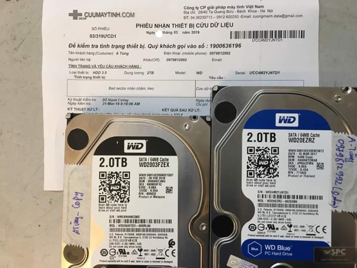 Lấy dữ liệu ổ cứng Western 2TB bad sector 27/05/2019 - cuumaytinh