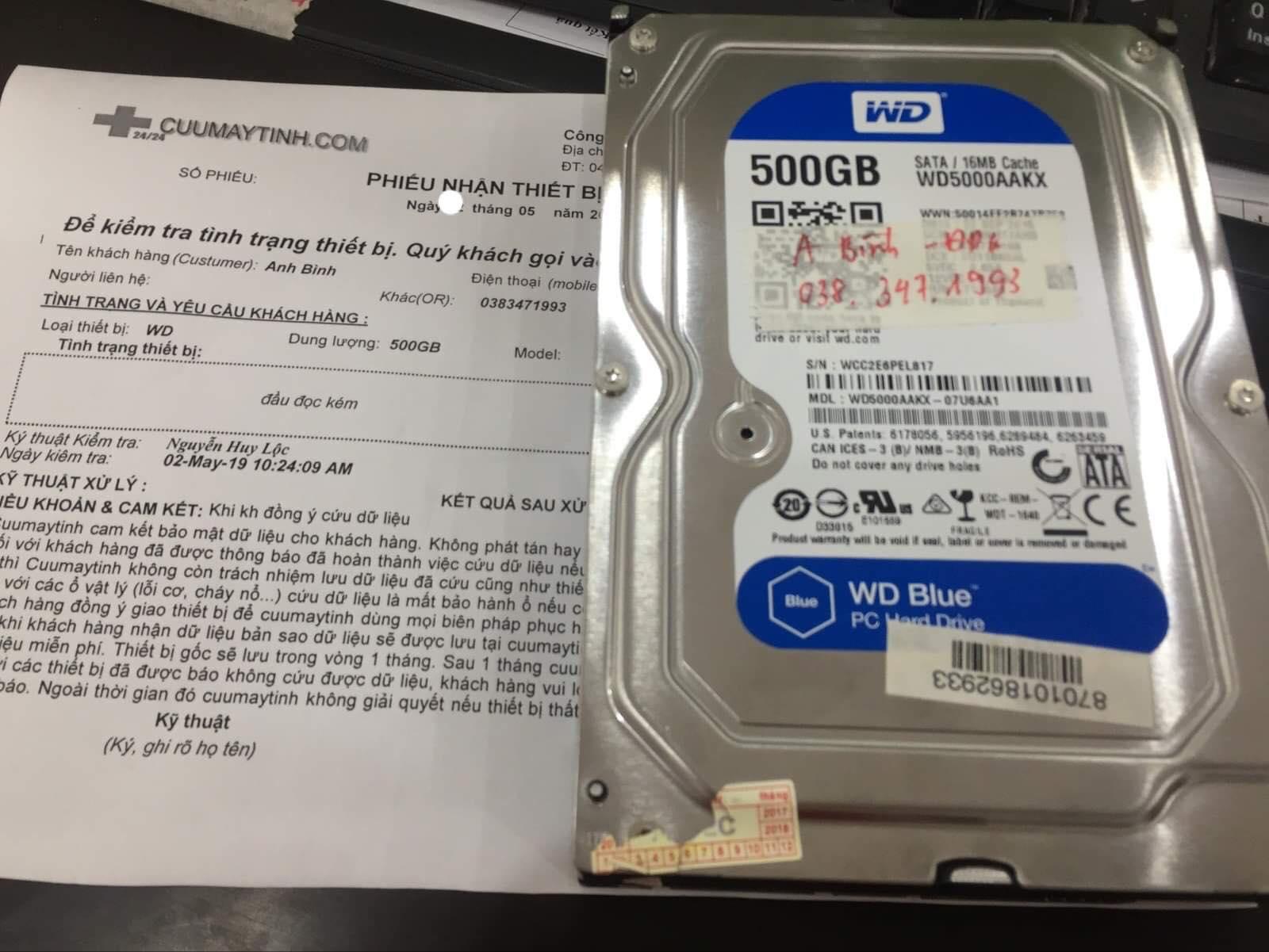 Lấy dữ liệu ổ cứng Western 500GB đầu đọc kém 04/05/2019 - cuumaytinh