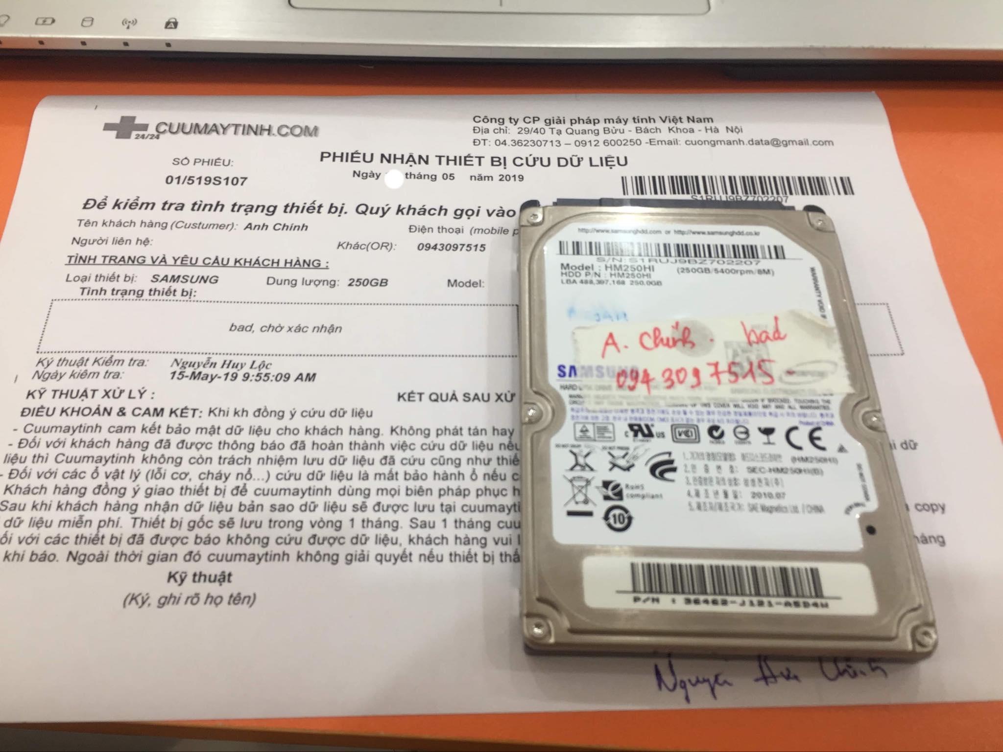 Phục hồi dữ liệu ổ cứng Samsung 250GB bad  22/05/2019 - cuumaytinh
