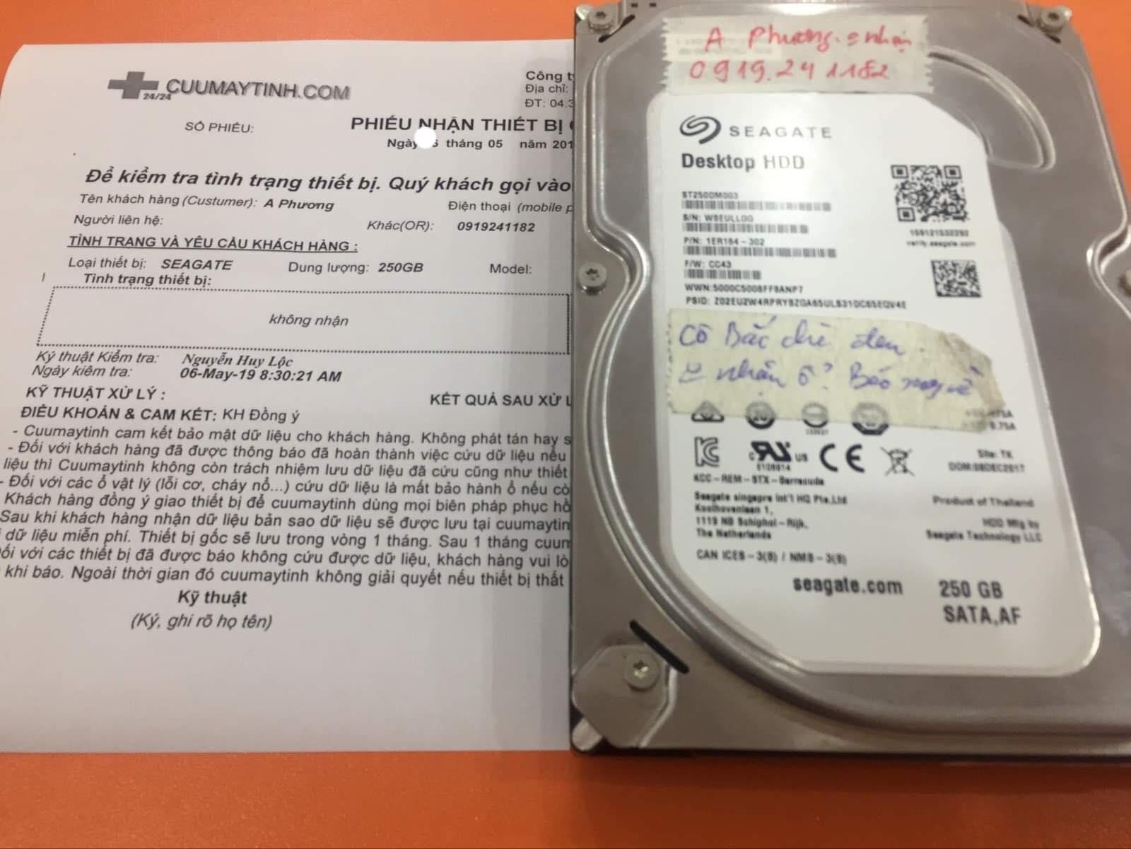 Phục hồi dữ liệu ổ cứng Seagate 250GB không nhận 11/05/2019 - cuumaytinh