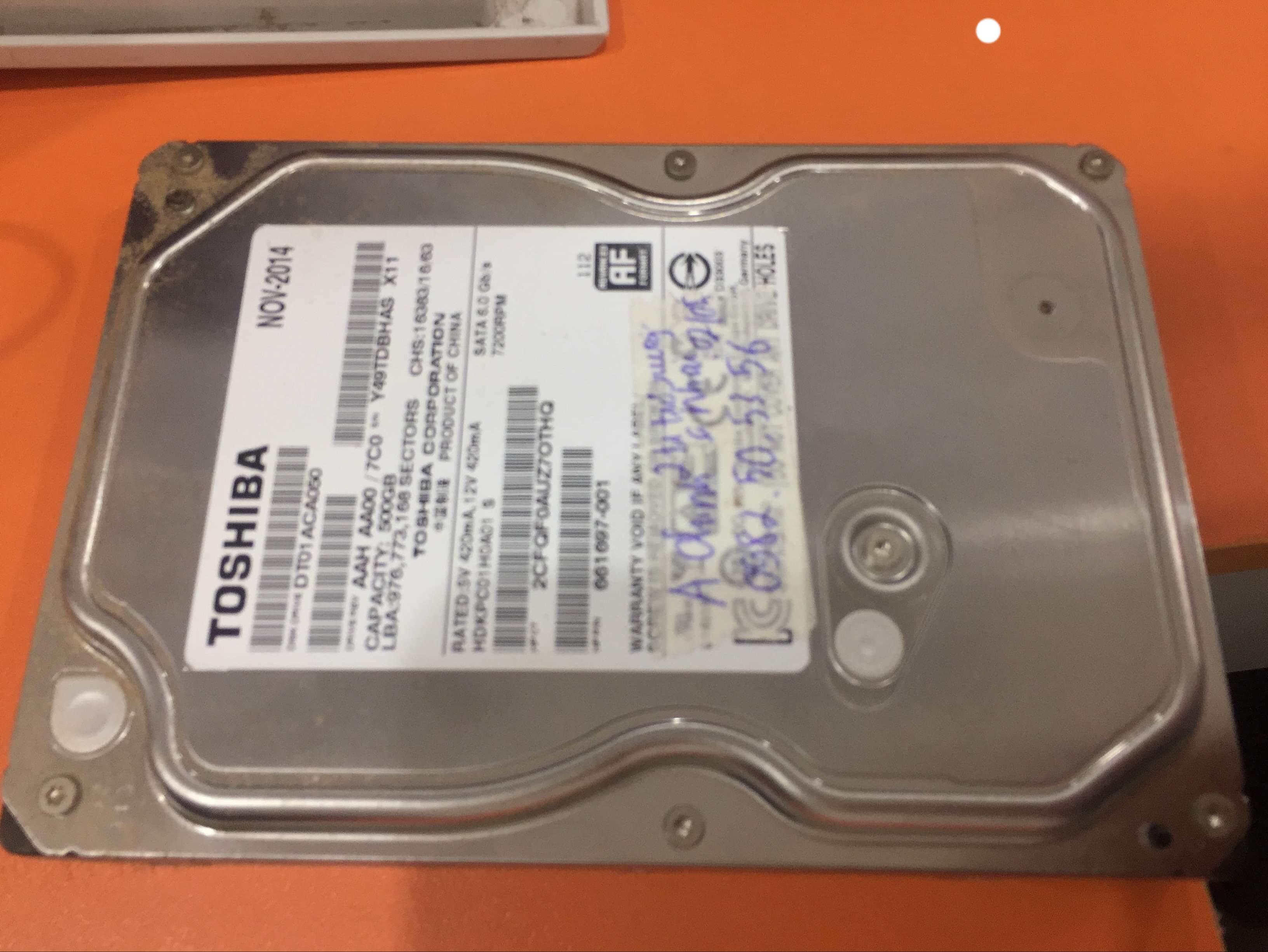 Phục hồi dữ liệu ổ cứng Toshiba 500GB không nhận 07/05/2019 - cuumaytinh