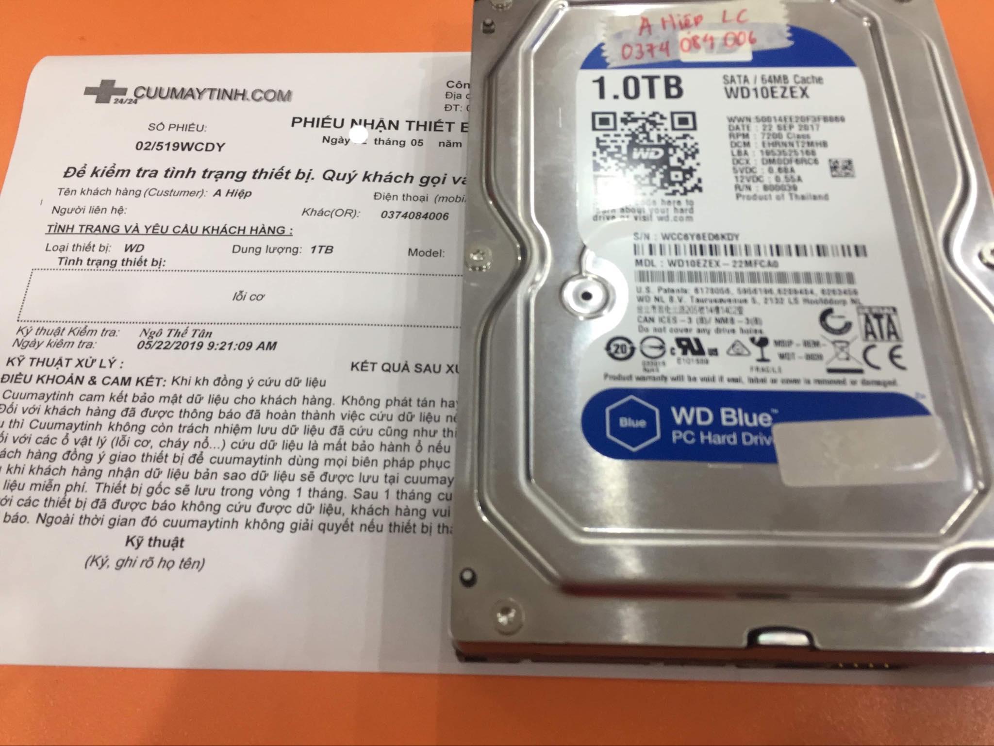 Phục hồi dữ liệu ổ cứng Western 1TB lỗi cơ 24/05/2019 - cuumaytinh