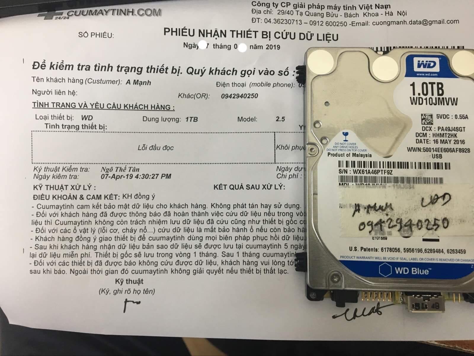 Phục hồi dữ liệu ổ cứng Western 1TB lỗi đầu đọc 02/05/2019 - cuumaytinh