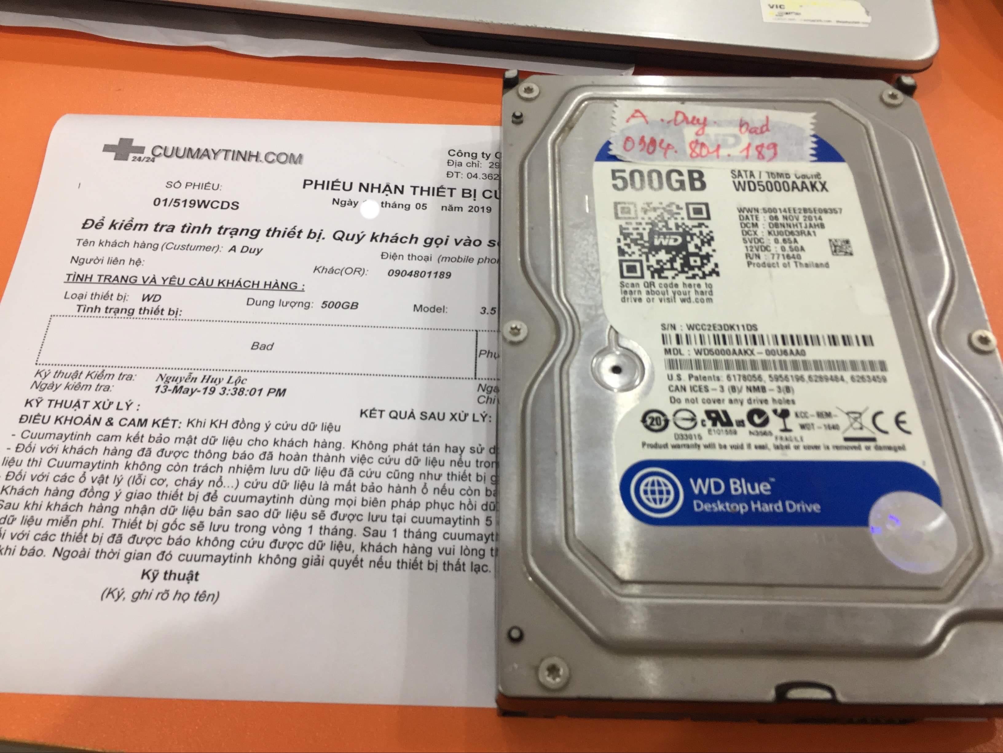 Phục hồi dữ liệu ổ cứng Western 500GB bad 15/05/2019 - cuumaytinh
