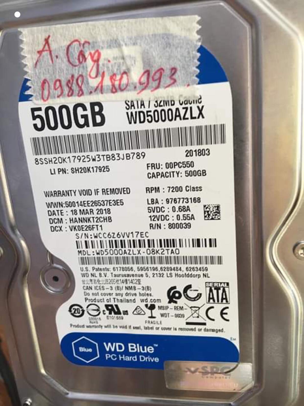 Phục hồi dữ liệu ổ cứng Western 500GB mất dữ liệu 20/05/2019 - cuumaytinh