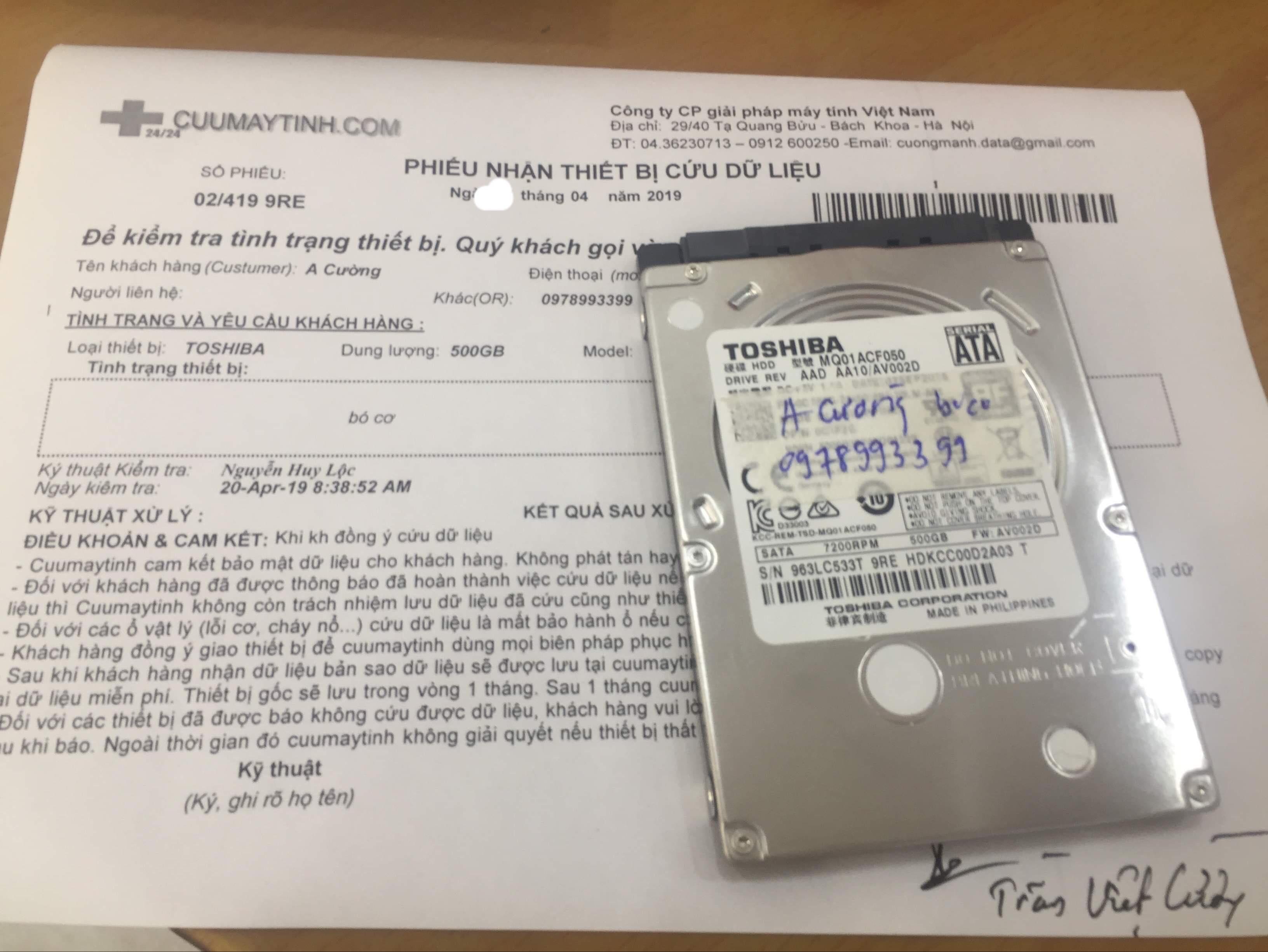 Cứu dữ liệu ổ cứng Toshiba 500GB bó cơ 27/05/2019 - cuumaytinh