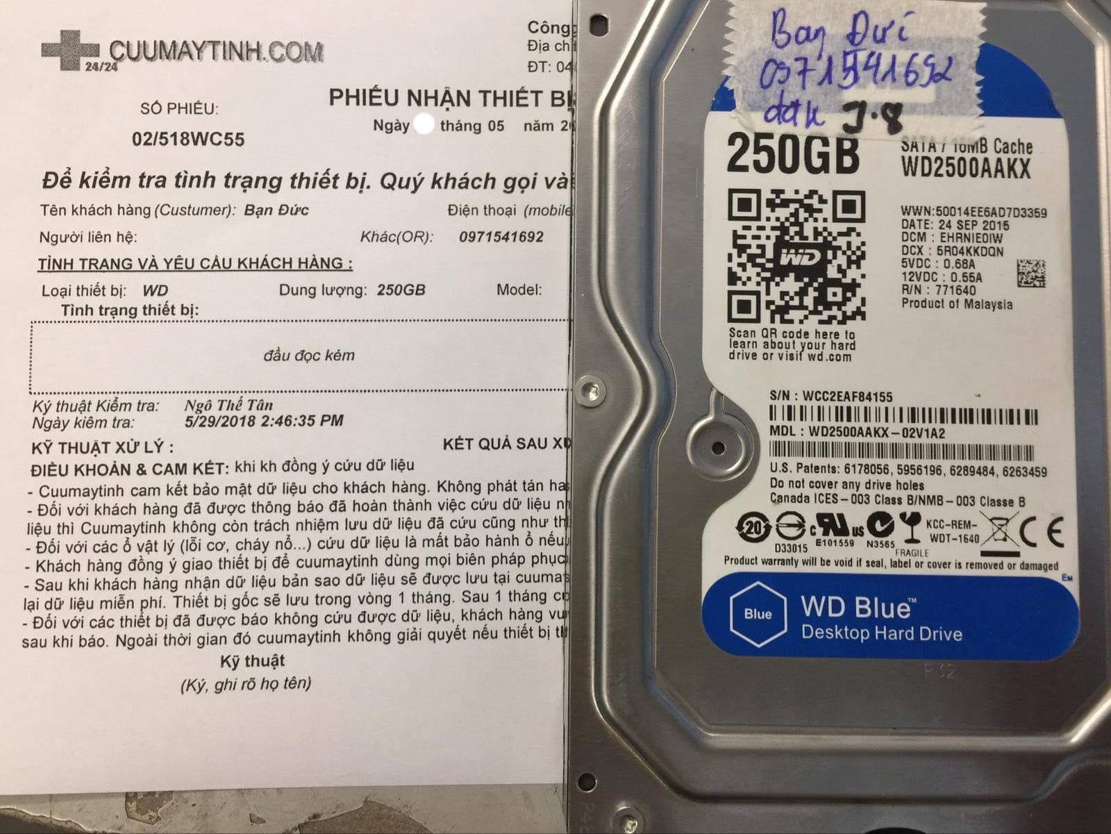 Phục hồi dữ liệu ổ cứng Western 250GB đầu đọc kém 27/05/2019 - cuumaytinh