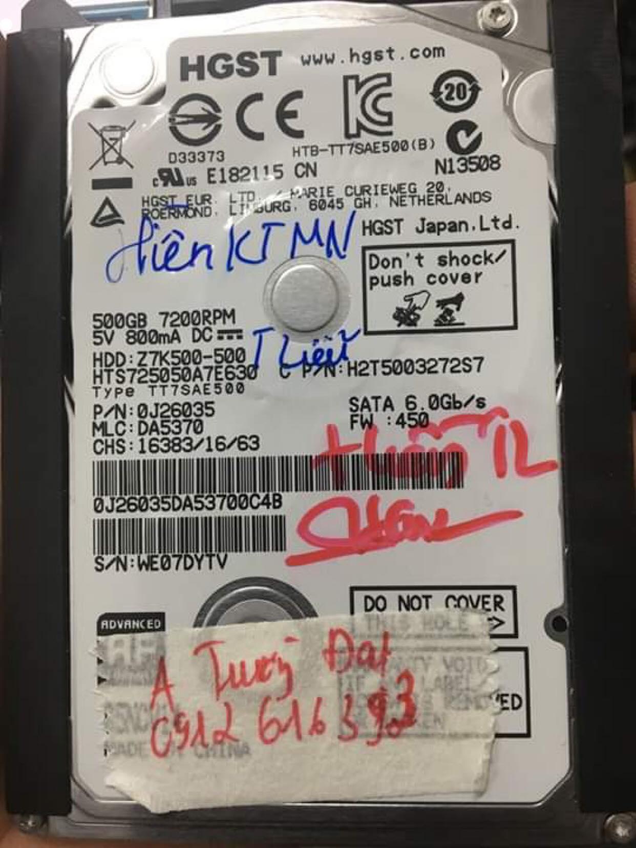 Cứu dữ liệu ổ cứng HGST 500GB đầu đọc kém 05/06/2019 - cuumaytinh