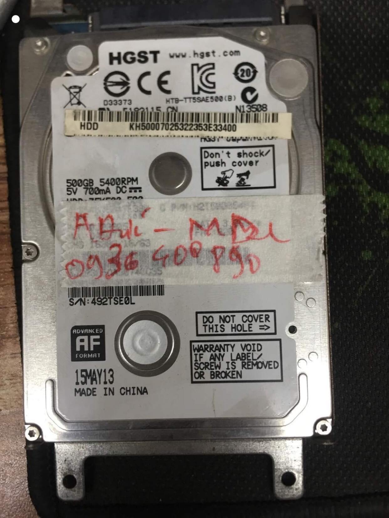 Cứu dữ liệu ổ cứng HGST 500GB format nhầm 07/06/2019 - cuumaytinh