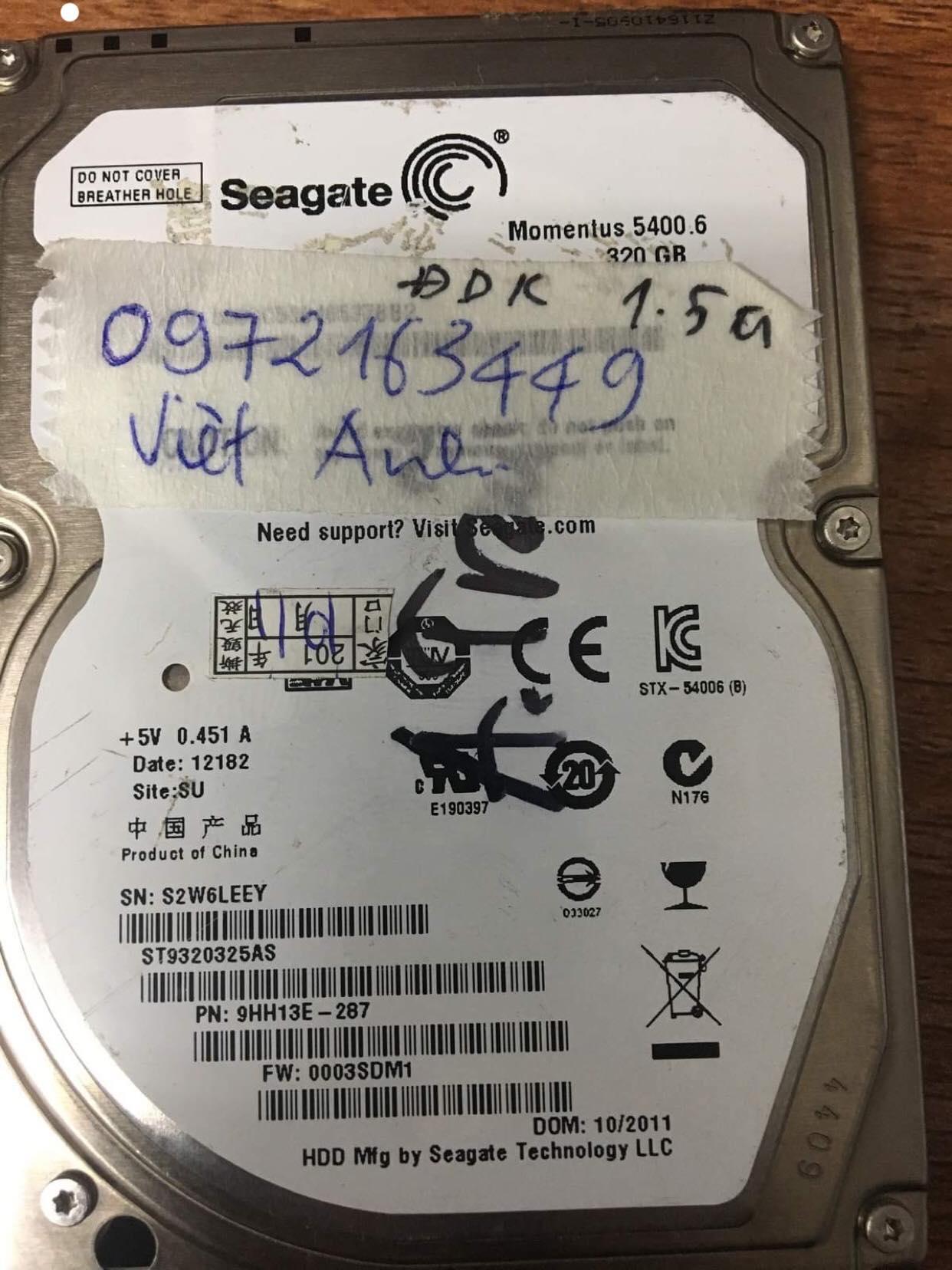 Cứu dữ liệu ổ cứng Seagate 320GB đầu đọc kém  29/05/2019 - cuumaytinh