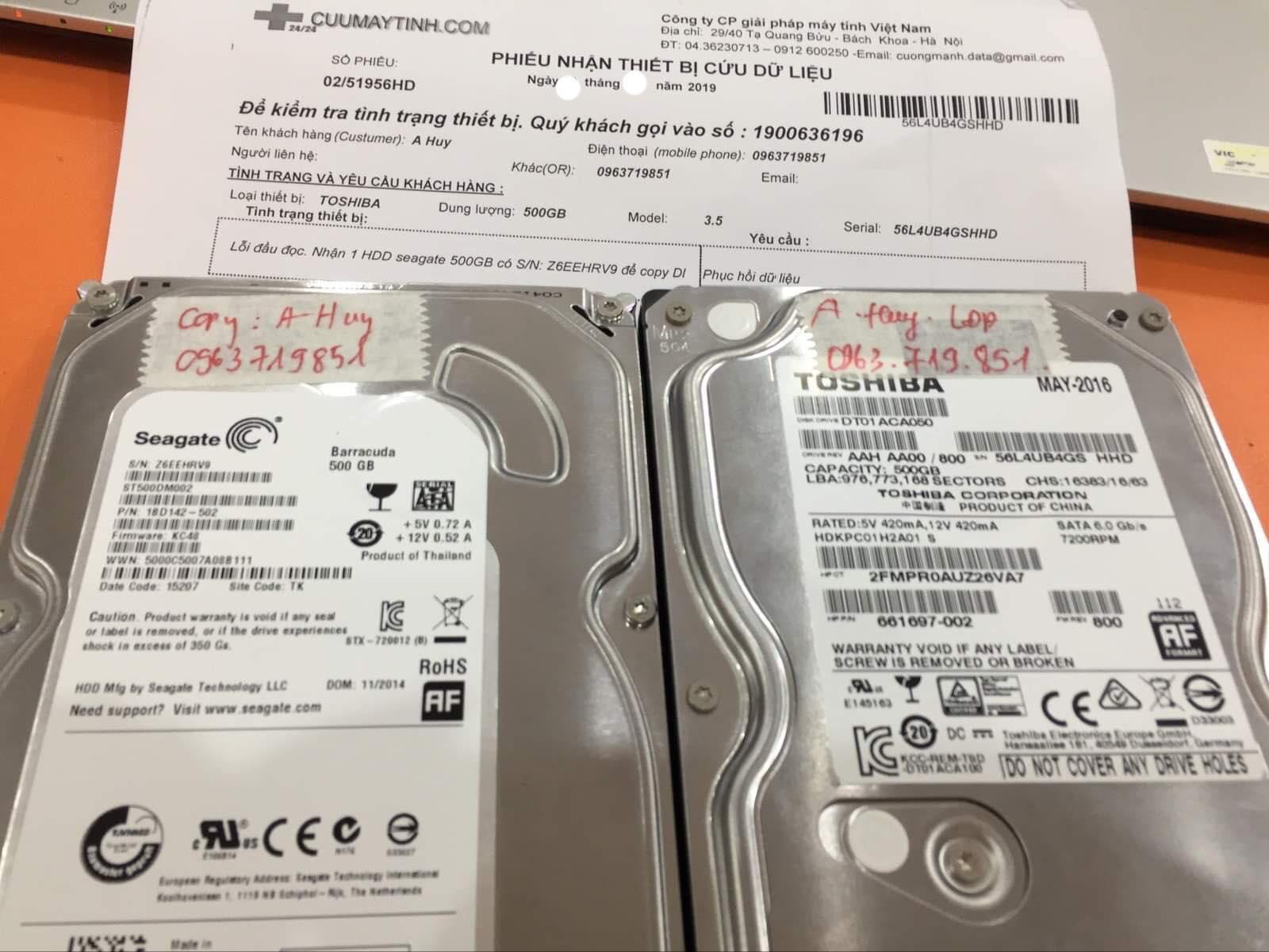 Cứu dữ liệu ổ cứng Toshiba 500GB không nhận 03/06/2019 - cuumaytinh