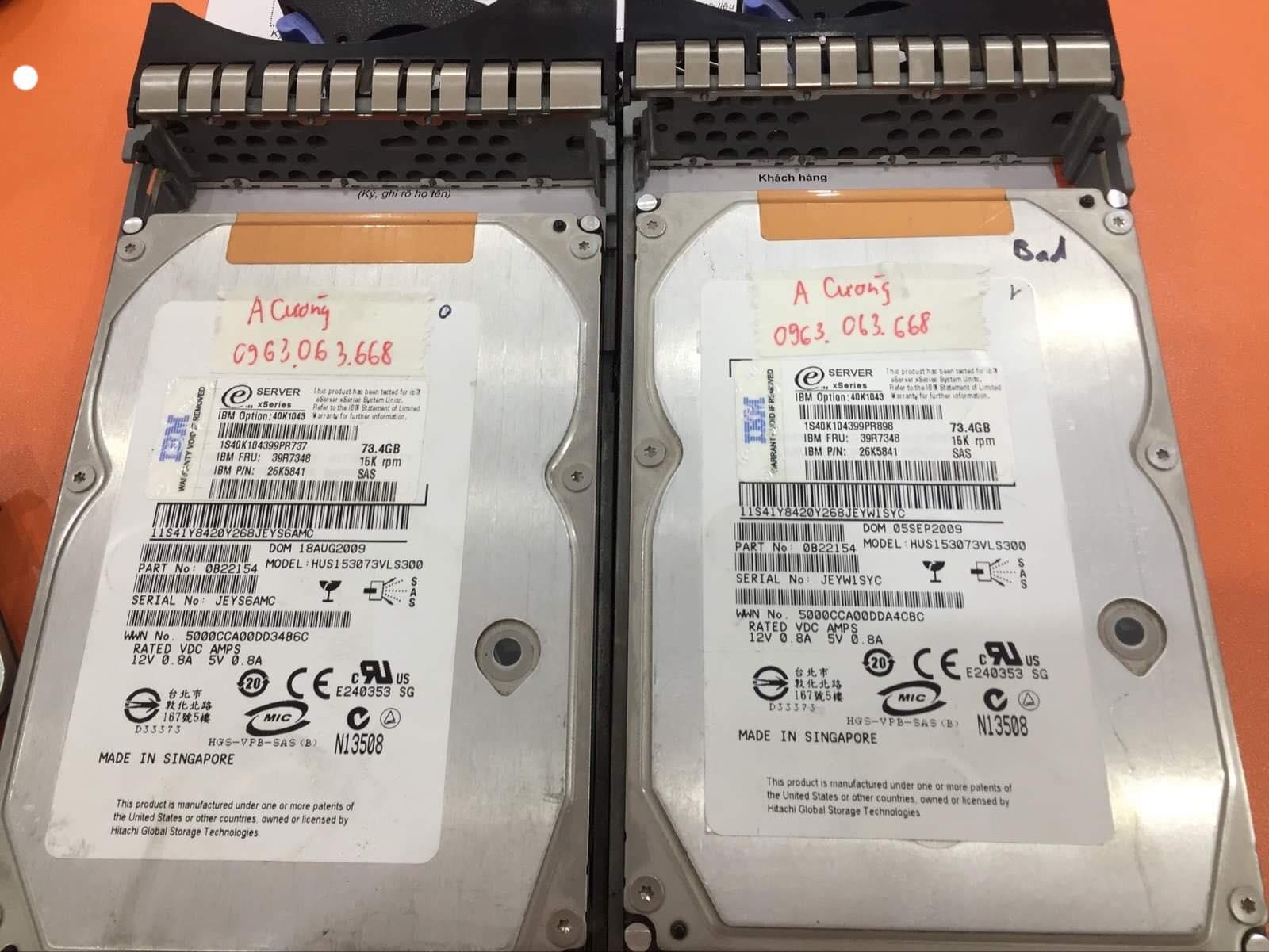 Khôi phục dữ liệu máy chủ IBM với 2HDDx74GB chạy raid 0 lỗi 1HDD 18/05/2019 - cuumaytinh