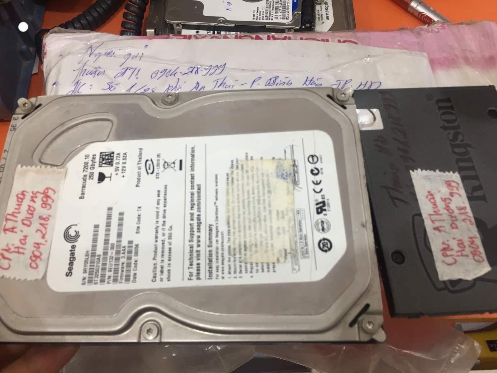Khôi phục dữ liệu ổ cứng Seagate 250GB không nhận tại Hải Dương 20/06/2019 - cuumaytinh
