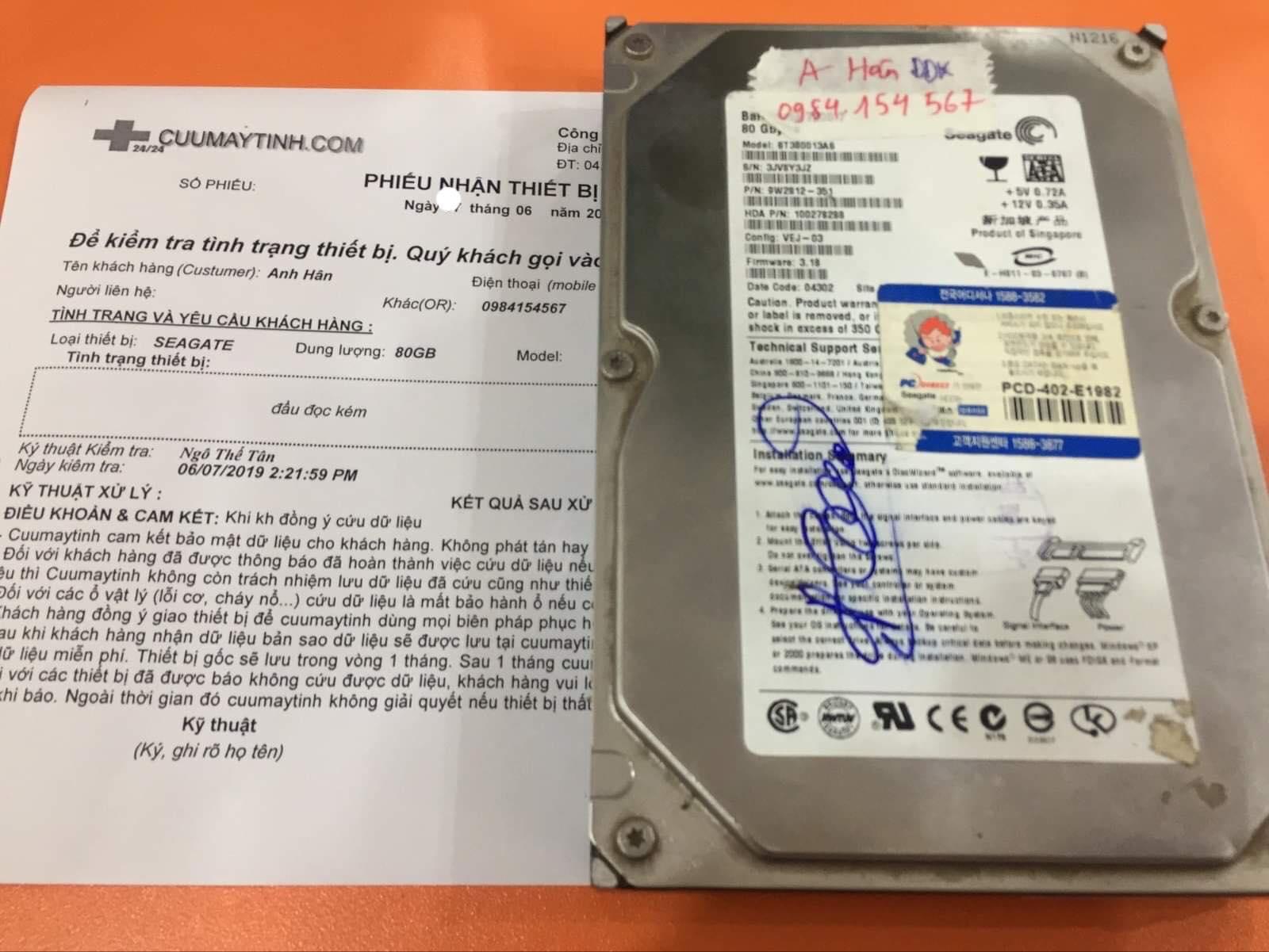 Khôi phục dữ liệu ổ cứng Seagate 80GB đầu đọc kém 13/06/2019 - cuumaytinh