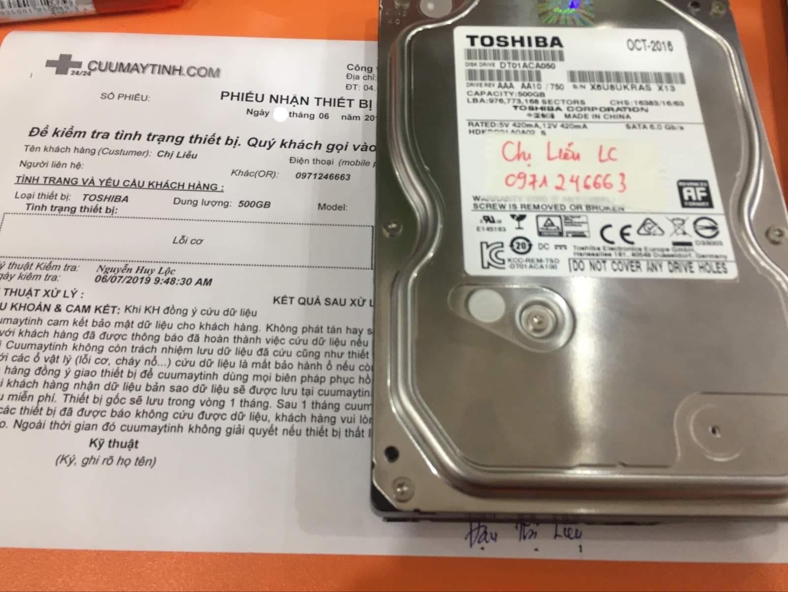 Khôi phục dữ liệu ổ cứng Toshiba 500GB lỗi cơ  08/06/2019 - cuumaytinh