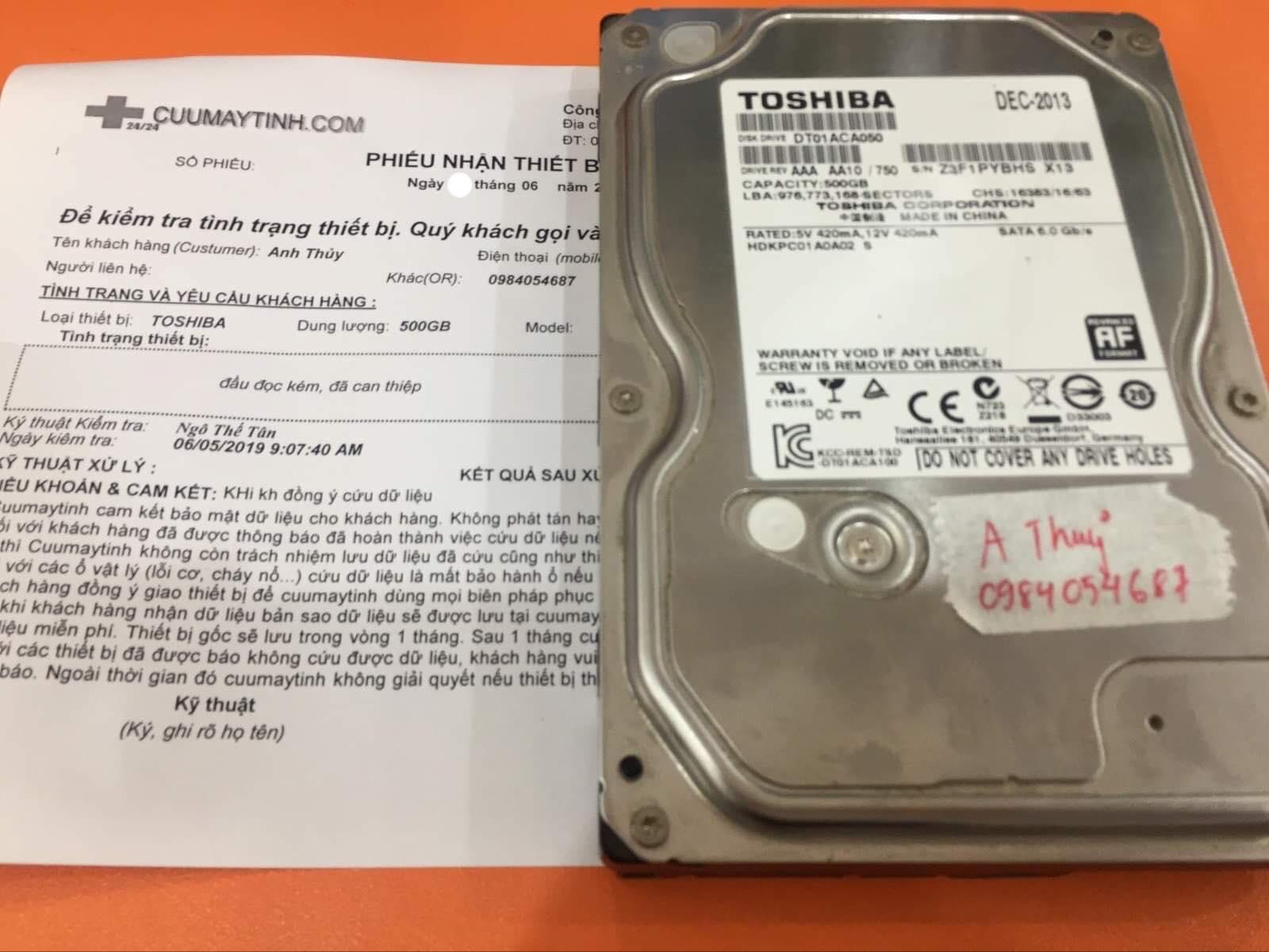 Khôi phục dữ liệu ổ cứng Toshiba 500GB đầu đọc kém 11/06/2019 - cuumaytinh