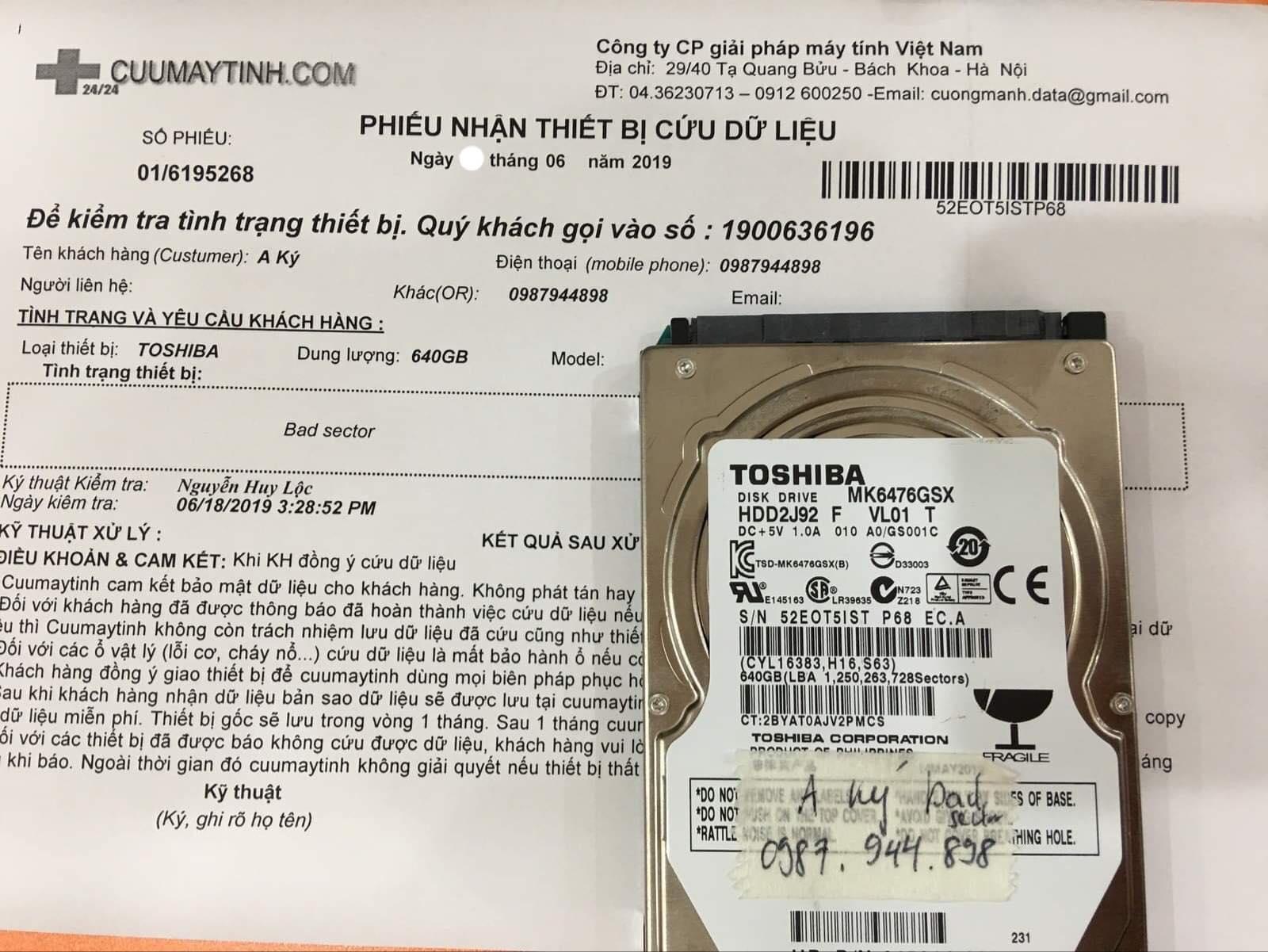 Khôi phục dữ liệu ổ cứng Toshiba 640GB bad sector 22/06/2019 - cuumaytinh