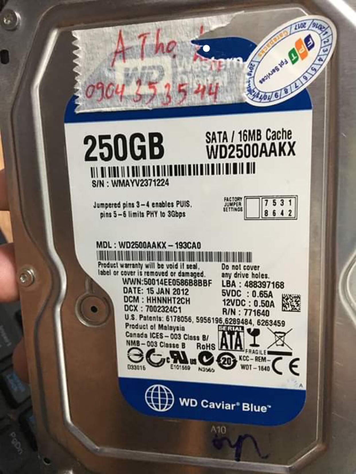 Khôi phục dữ liệu ổ cứng Western 250GB bad nặng 07/06/2019 - cuumaytinh