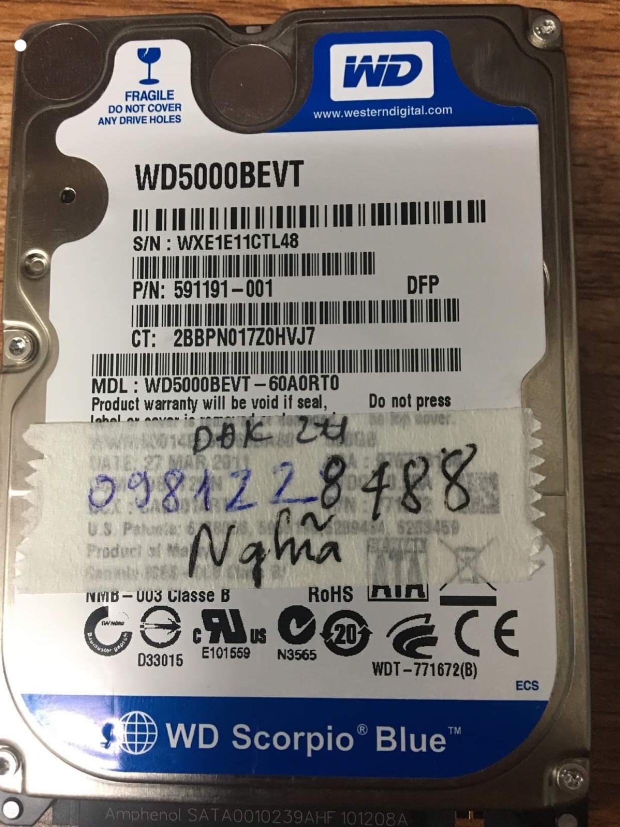 Khôi phục dữ liệu ổ cứng Western 500GB đầu đọc kém 01/06/2019 - cuumaytinh