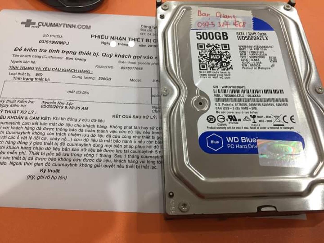 Khôi phục dữ liệu ổ cứng Western 500GB mất dữ liệu 03/06/2019- cuumaytinh