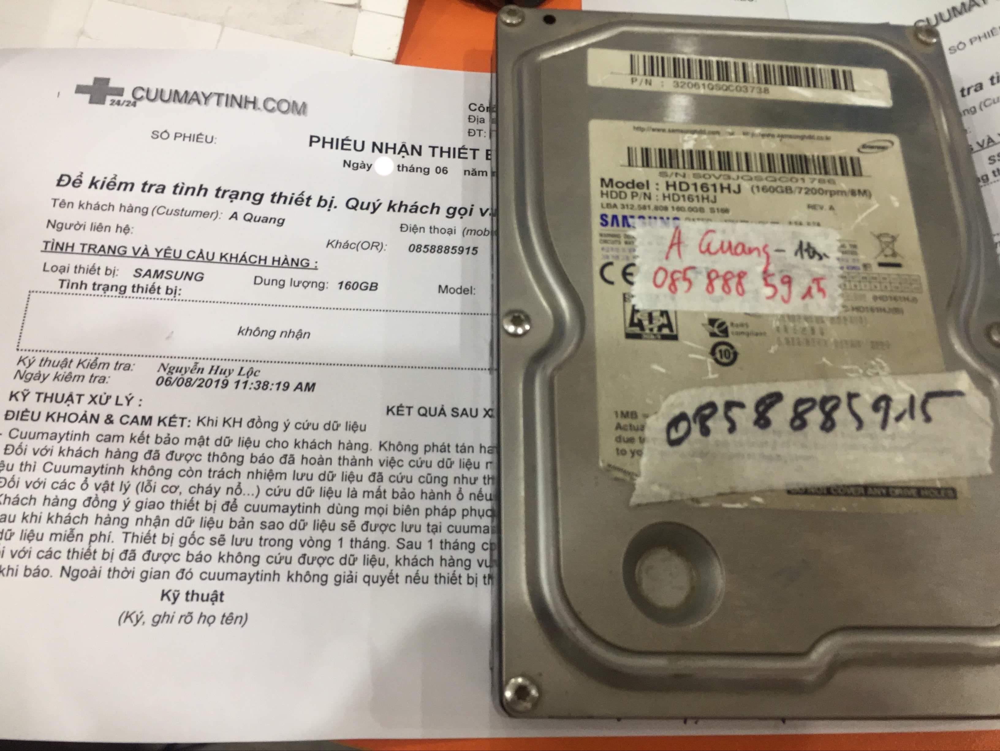Lấy dữ liệu ổ cứng Samsung 160GB không nhận 18/06/2019 - cuumaytinh