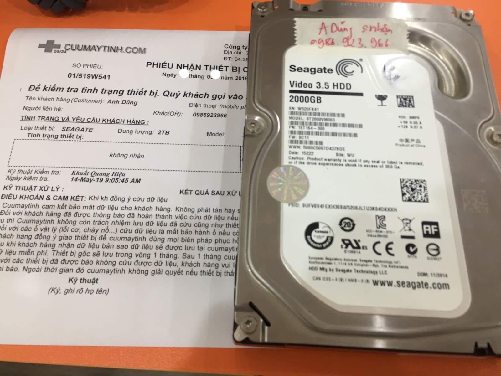 Lấy dữ liệu ổ cứng Seagate 2TB không nhận 08/06/2019 - cuumaytinh