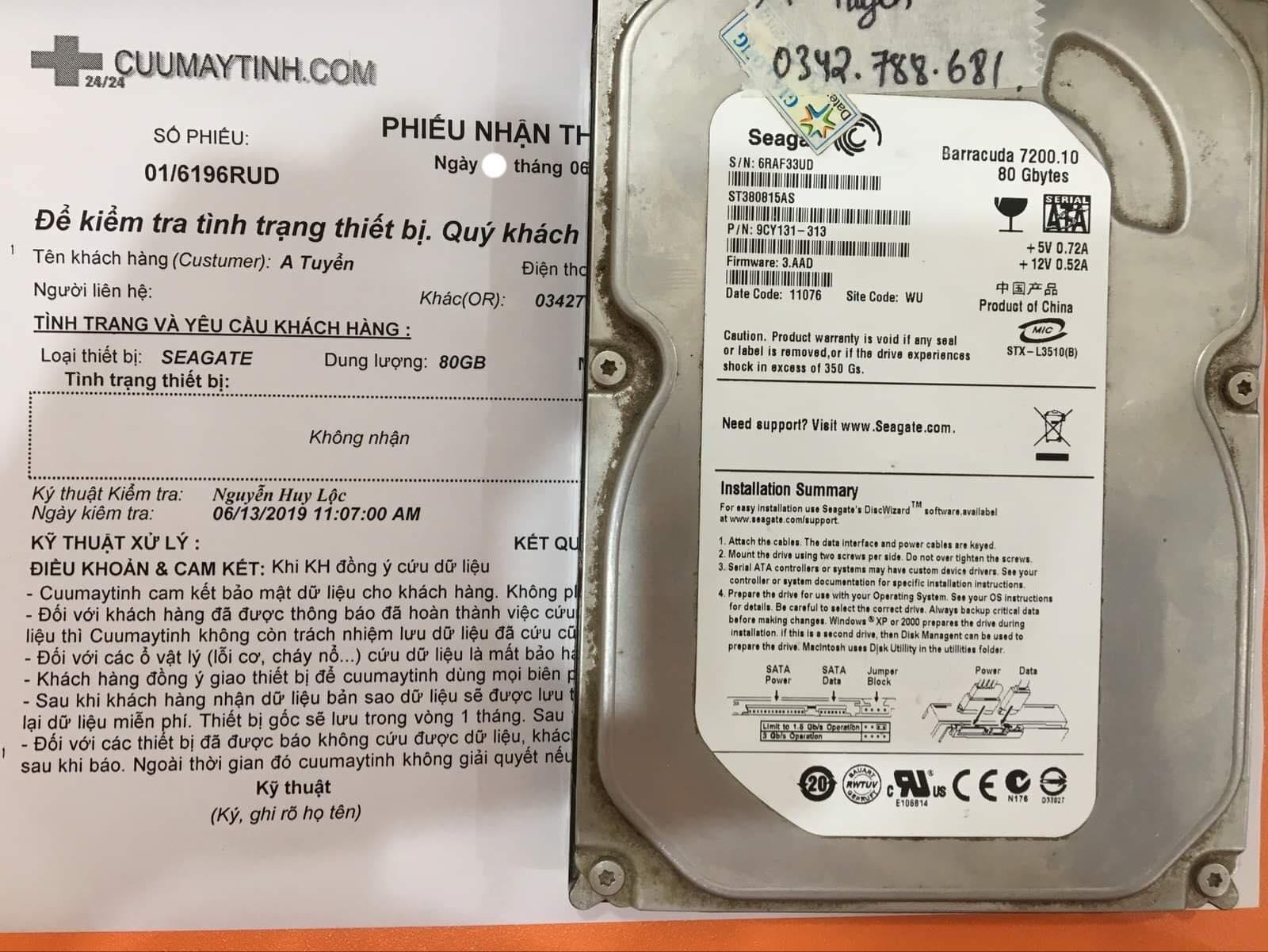 Lấy dữ liệu ổ cứng Seagate 80GB không nhận 15/06/2019 - cuumaytinh