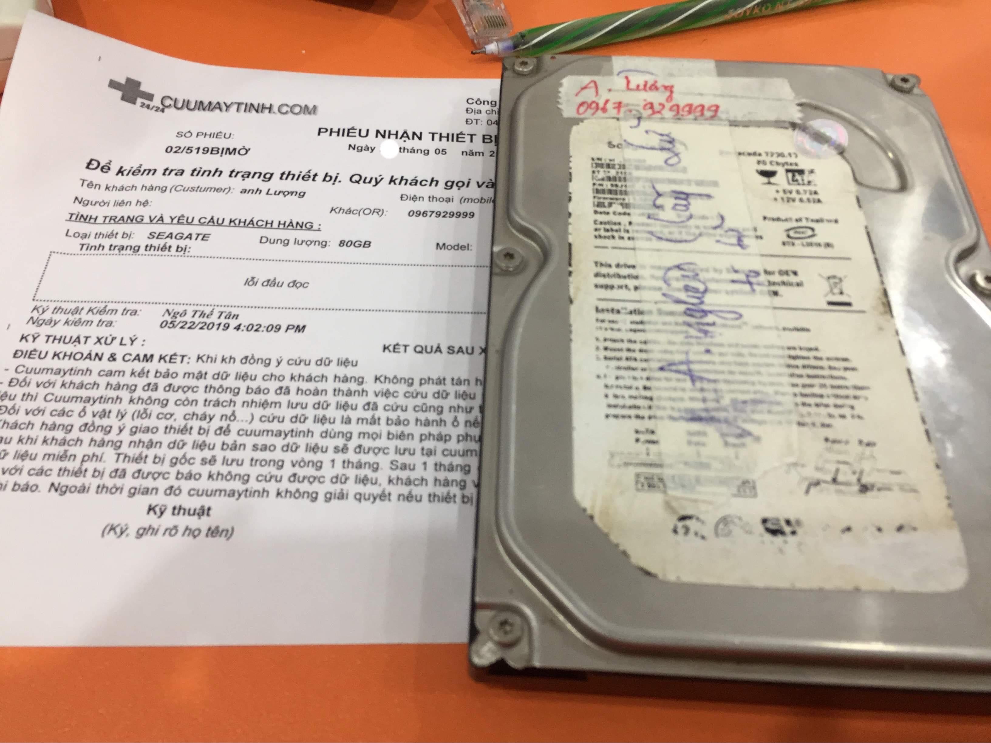 Lấy dữ liệu ổ cứng Seagate 80GB lỗi đầu đọc 28/05/2019 - cuumaytinh