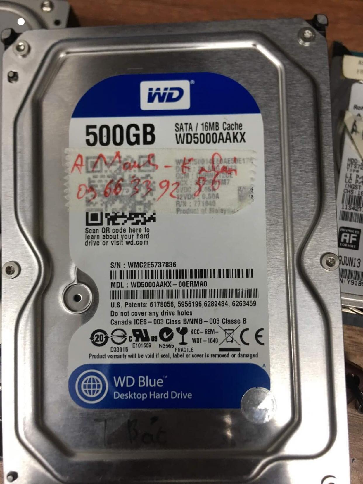 Lấy dữ liệu ổ cứng Western 500GB không nhận 10/06/2019 - cuumaytinh