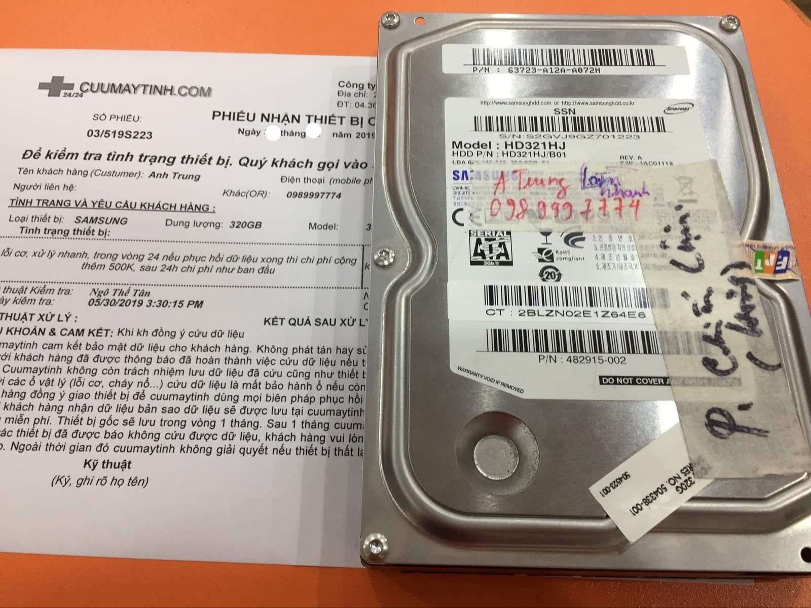 Phục hồi dữ liệu ổ cứng Samsung 320GB lỗi cơ 07/06/2019 - cuumaytinh