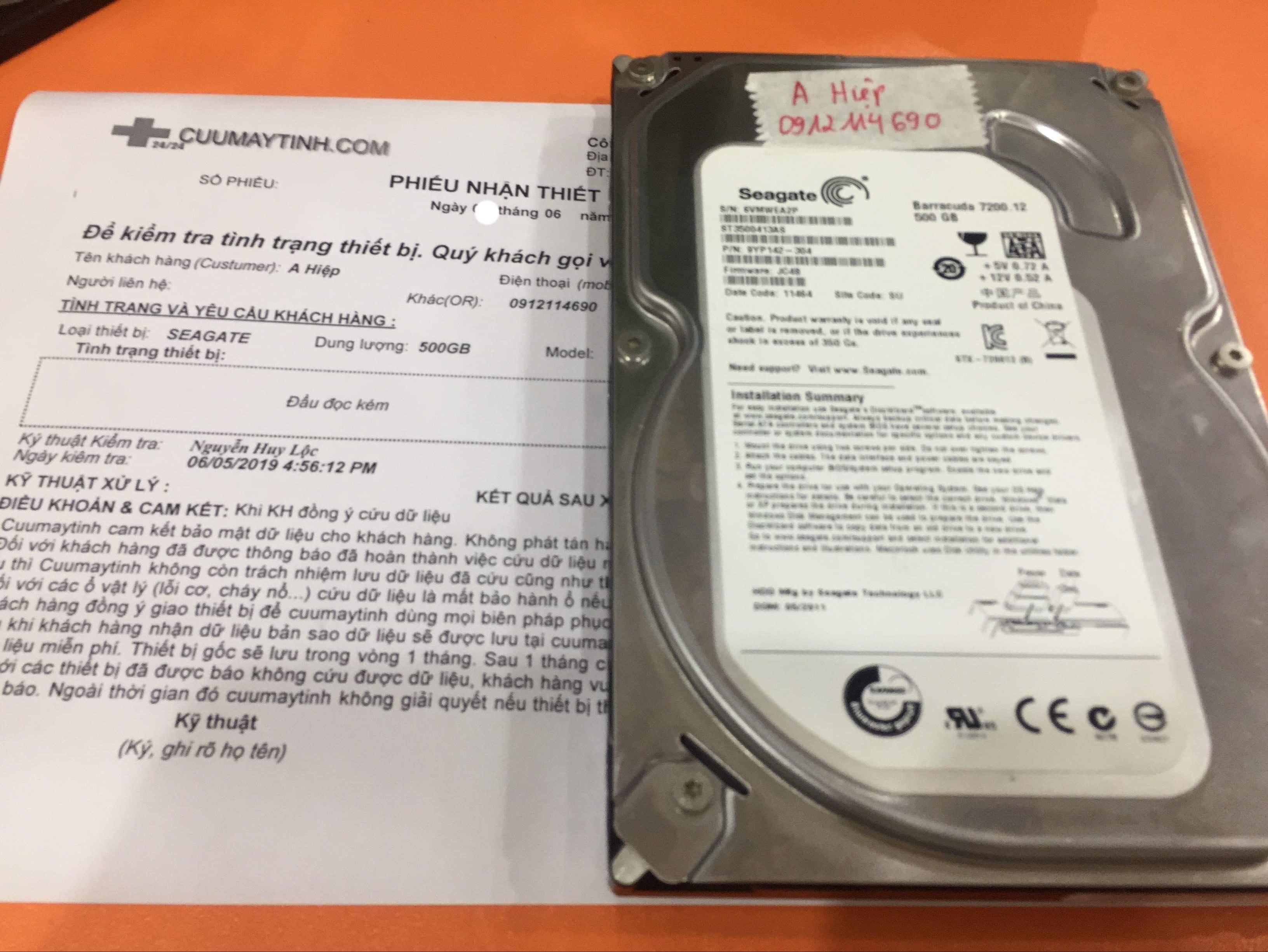 Phục hồi dữ liệu ổ cứng Seagate 500GB đầu đọc kém 10/06/2019 - cuumaytinh