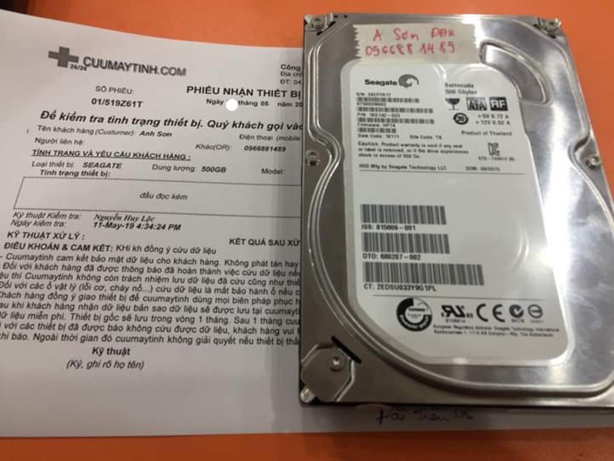 Phục hồi dữ liệu ổ cứng Seagate 500GB đầu đọc kém 21/06/2019 - cuumaytinh