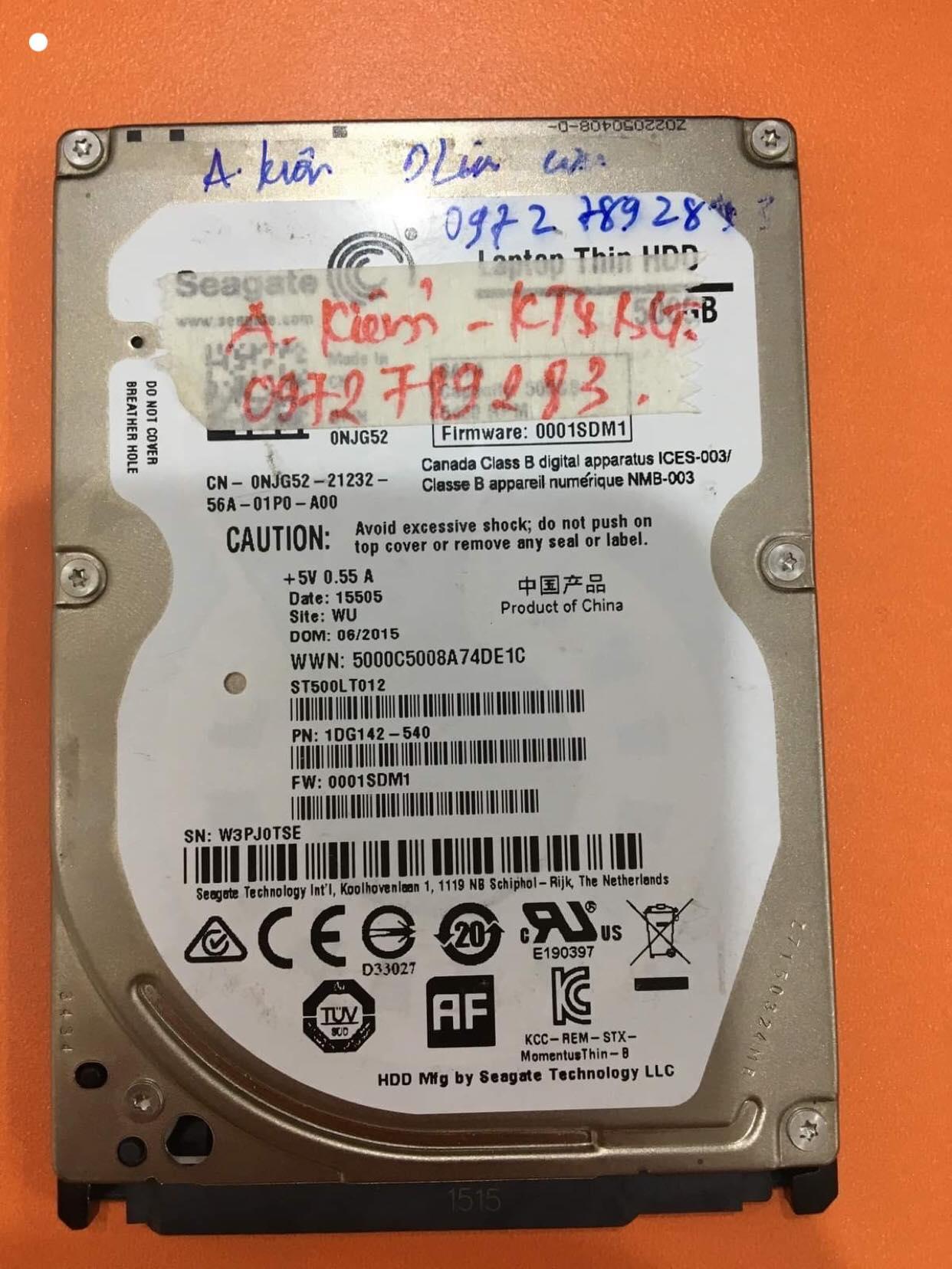 Phục hồi dữ liệu ổ cứng Seagate 500GB lỗi đầu đọc 29/05/2019 - cuumaytinh