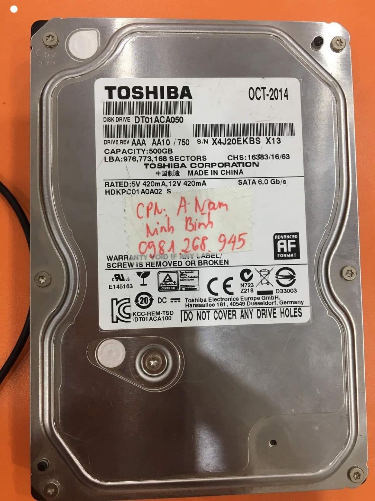 Phục hồi dữ liệu ổ cứng Toshiba 500GB không nhận tại Ninh Bình 12/06/2019 - cuumaytinh