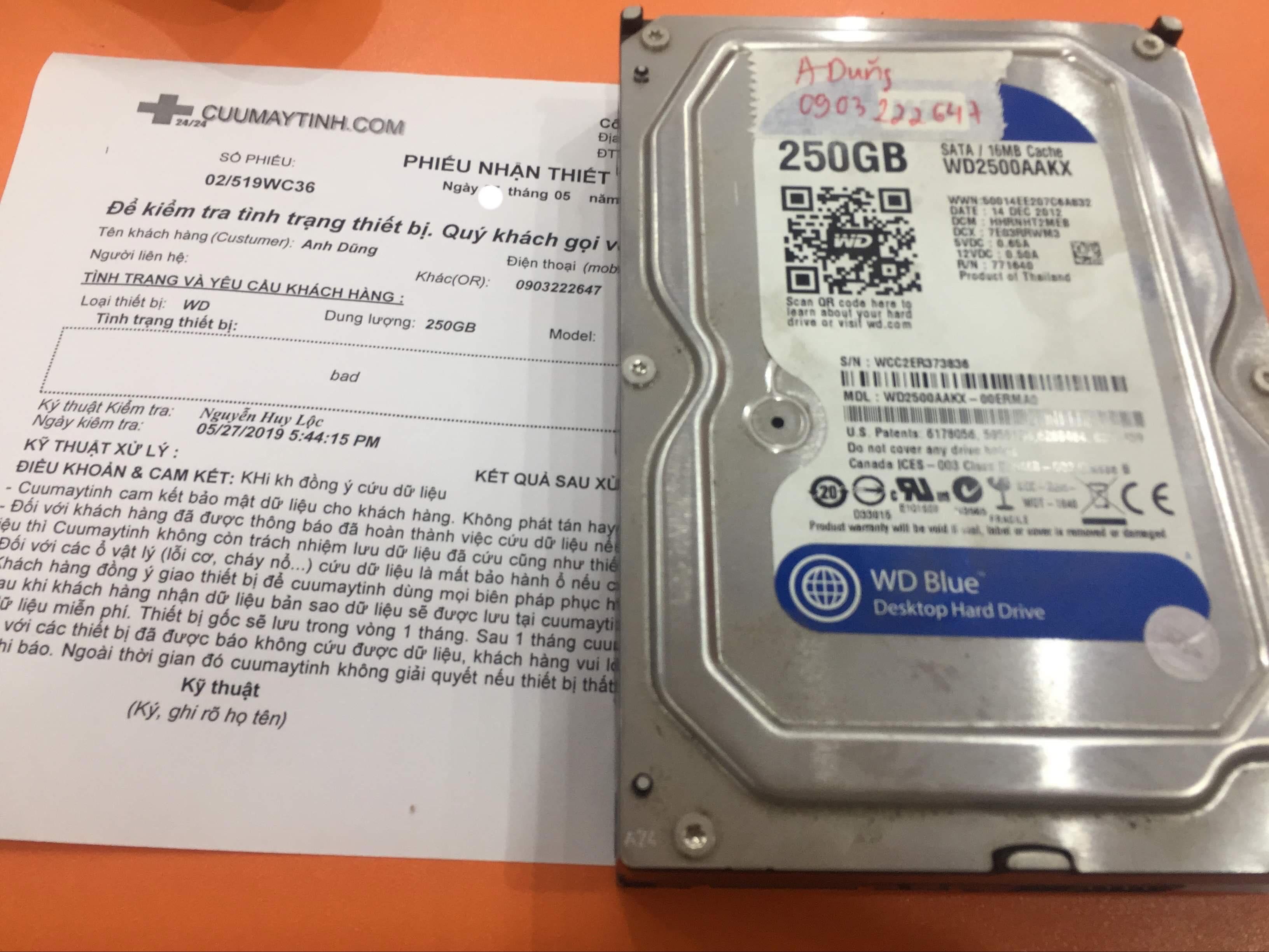 Phục hồi dữ liệu ổ cứng Western 250GB bad 31/05/2019 - cuumaytinh