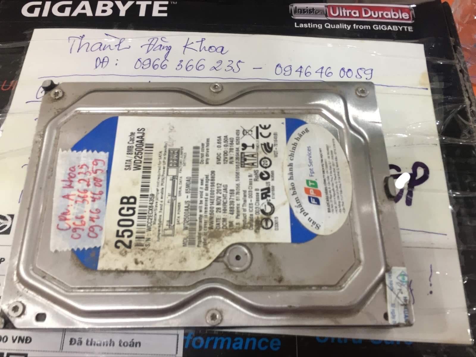 Phục hồi dữ liệu ổ cứng Western 250GB đầu đọc kém tại Thanh Hóa 22/06/2019 - cuumaytinh