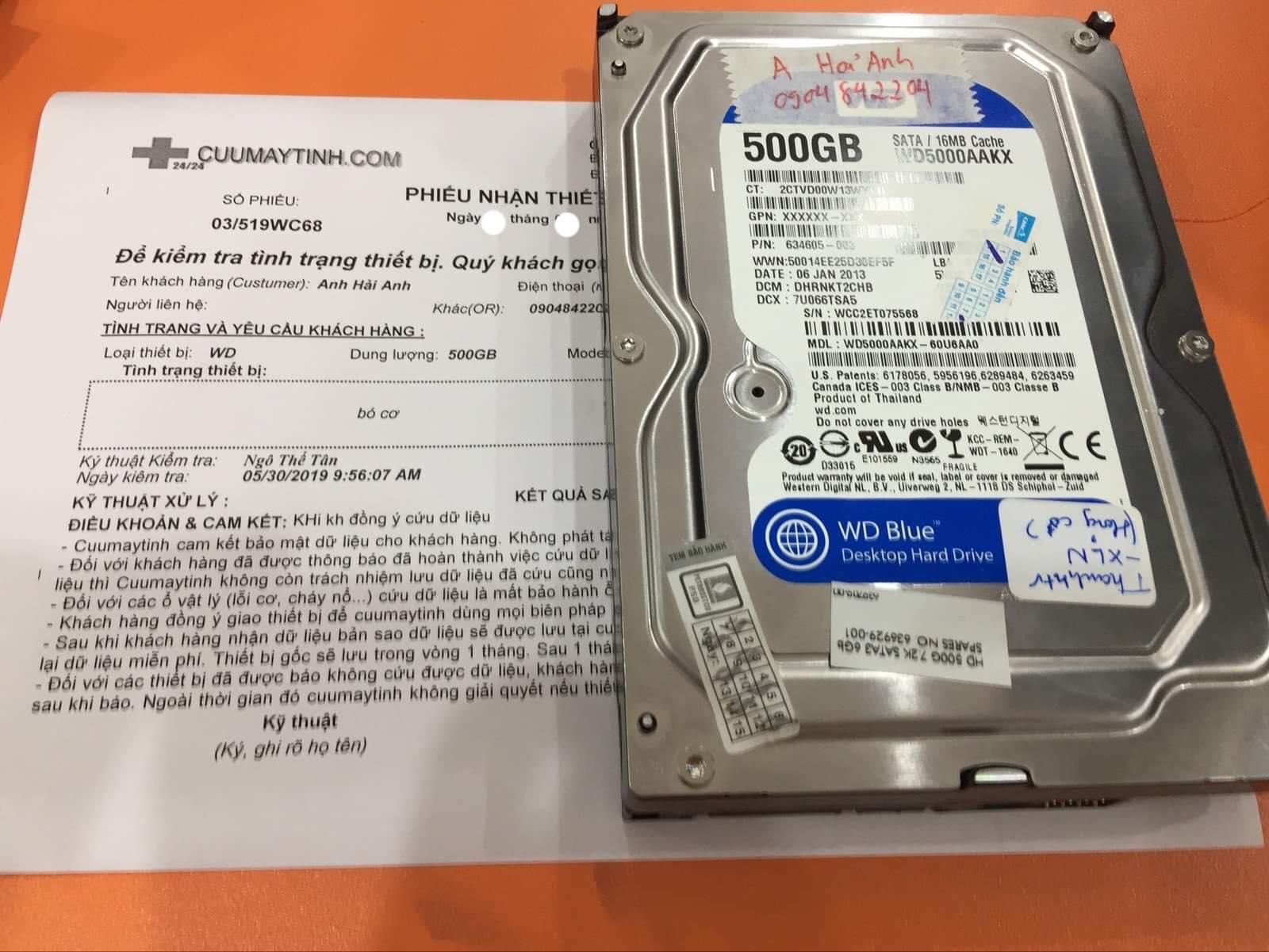 Phục hồi dữ liệu ổ cứng Western 500GB bó cơ 08/06/2019 - cuumaytinh