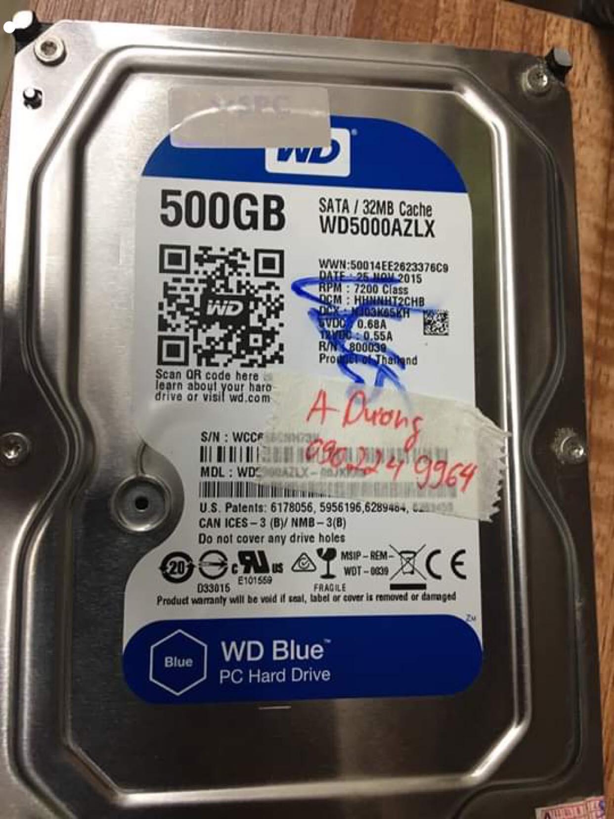 Phục hồi dữ liệu ổ cứng Western 500GB không nhận 05/06/2019 - cuumaytinh