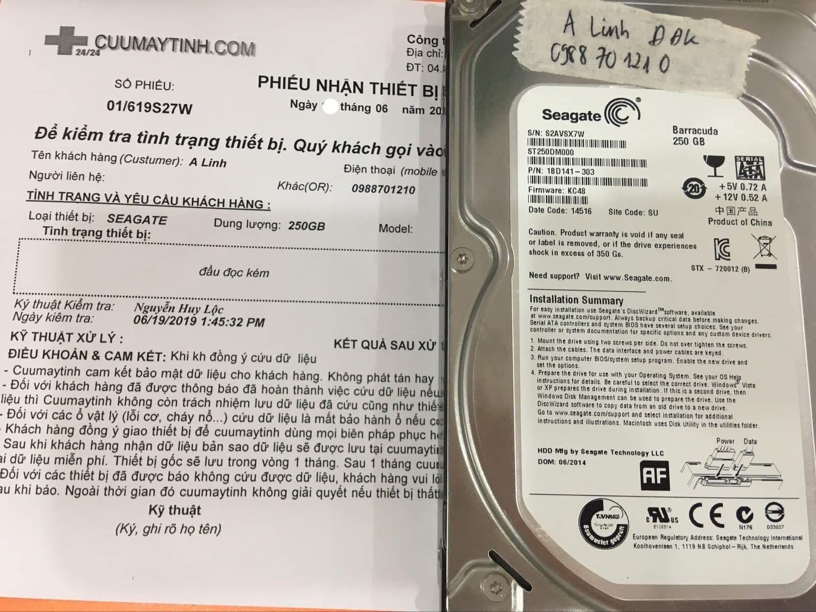 Cứu dữ liệu ổ cứng Seagate 250GB đầu đọc kém 21/06/2019 - cuumaytinh