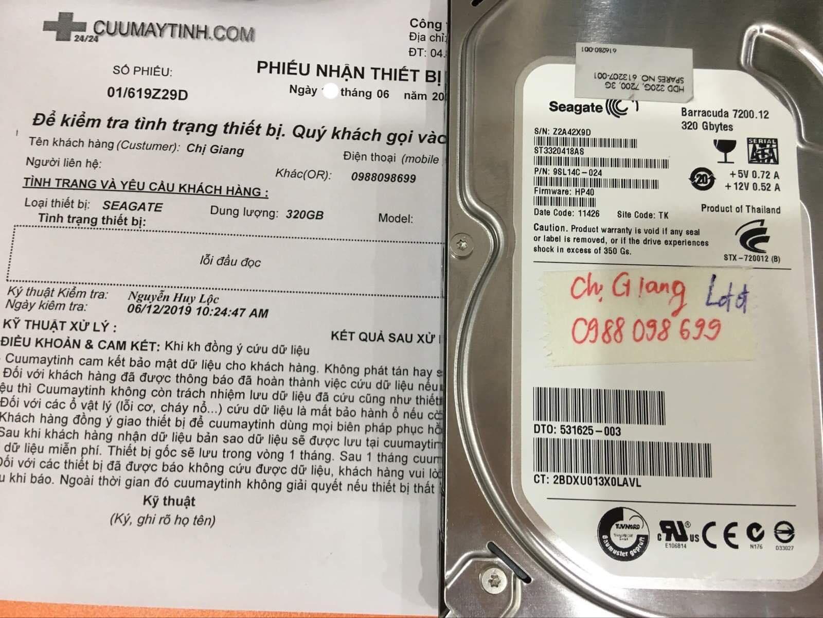 Cứu dữ liệu ổ cứng Seagate 320GB lỗi đầu đọc 20/06/2019 - cuumaytinh