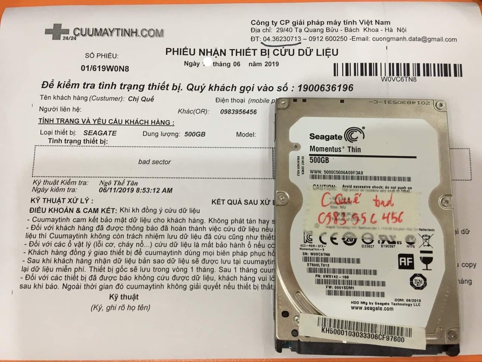 Cứu dữ liệu ổ cứng Seagate 500GB bad sector 15/06/2019 - cuumaytinh