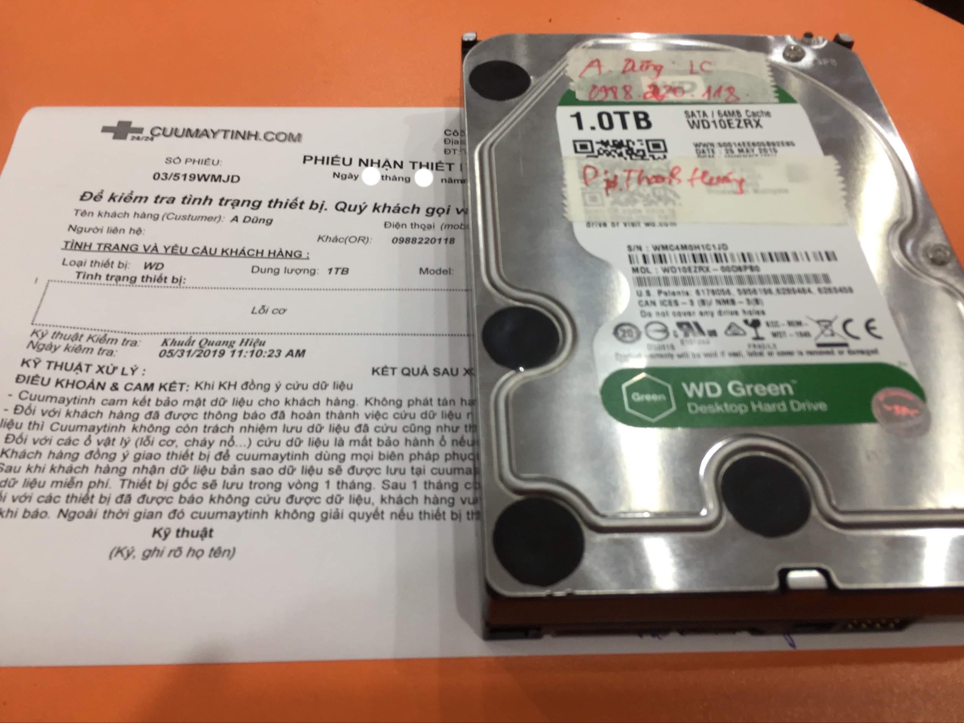Cứu dữ liệu ổ cứng Western 1TB lỗi cơ  10/06/2019 - cuumaytinh
