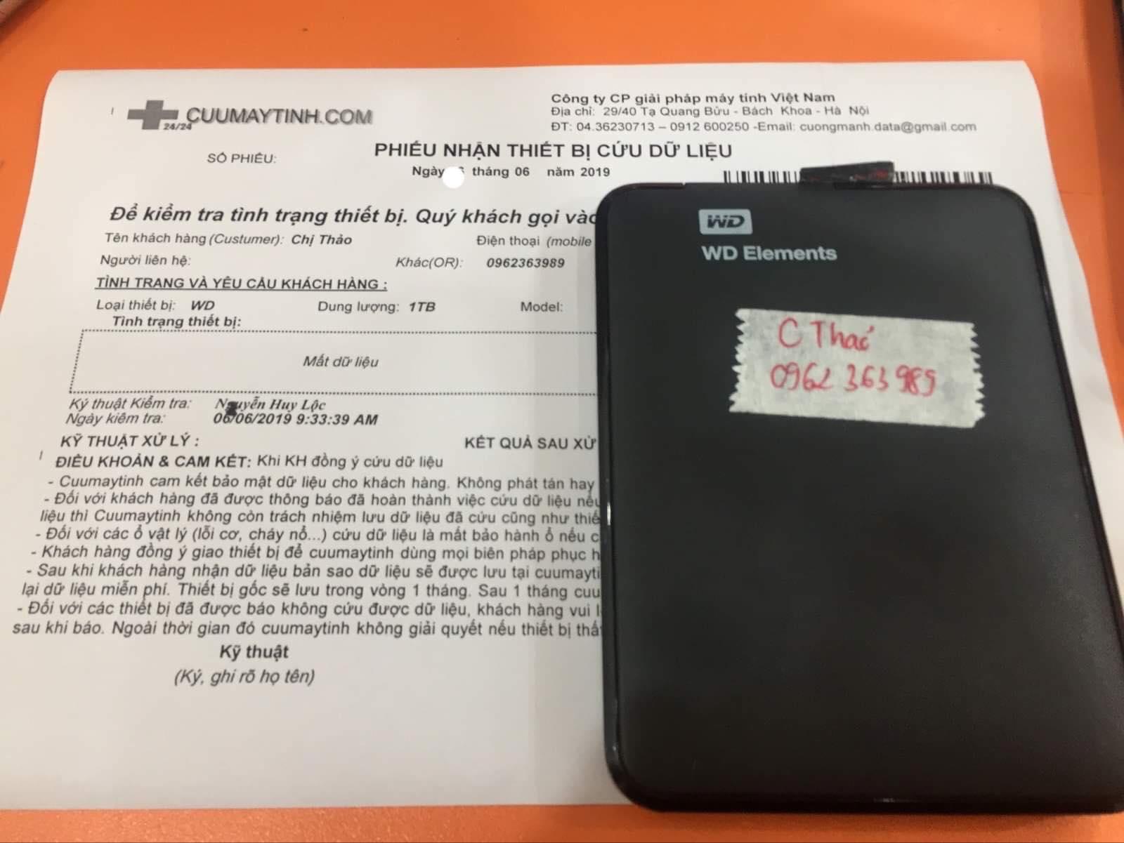 Cứu dữ liệu ổ cứng Western 1TB mất dữ liệu 11/06/2019 - cuumaytinh