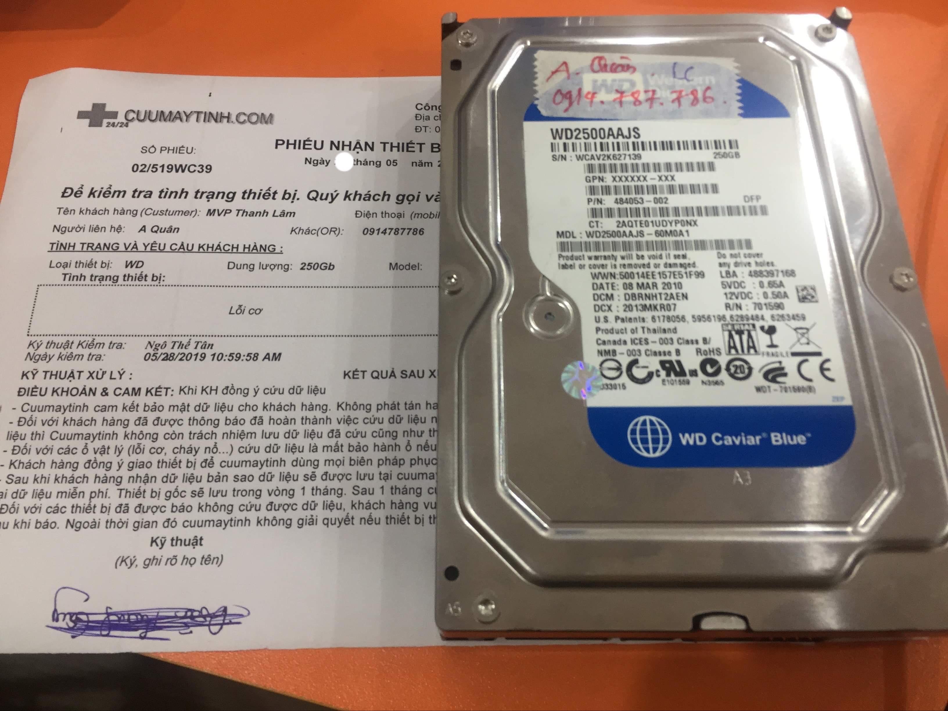 Cứu dữ liệu ổ cứng Western 250GB lỗi cơ 31/05/2019 - cuumaytinh